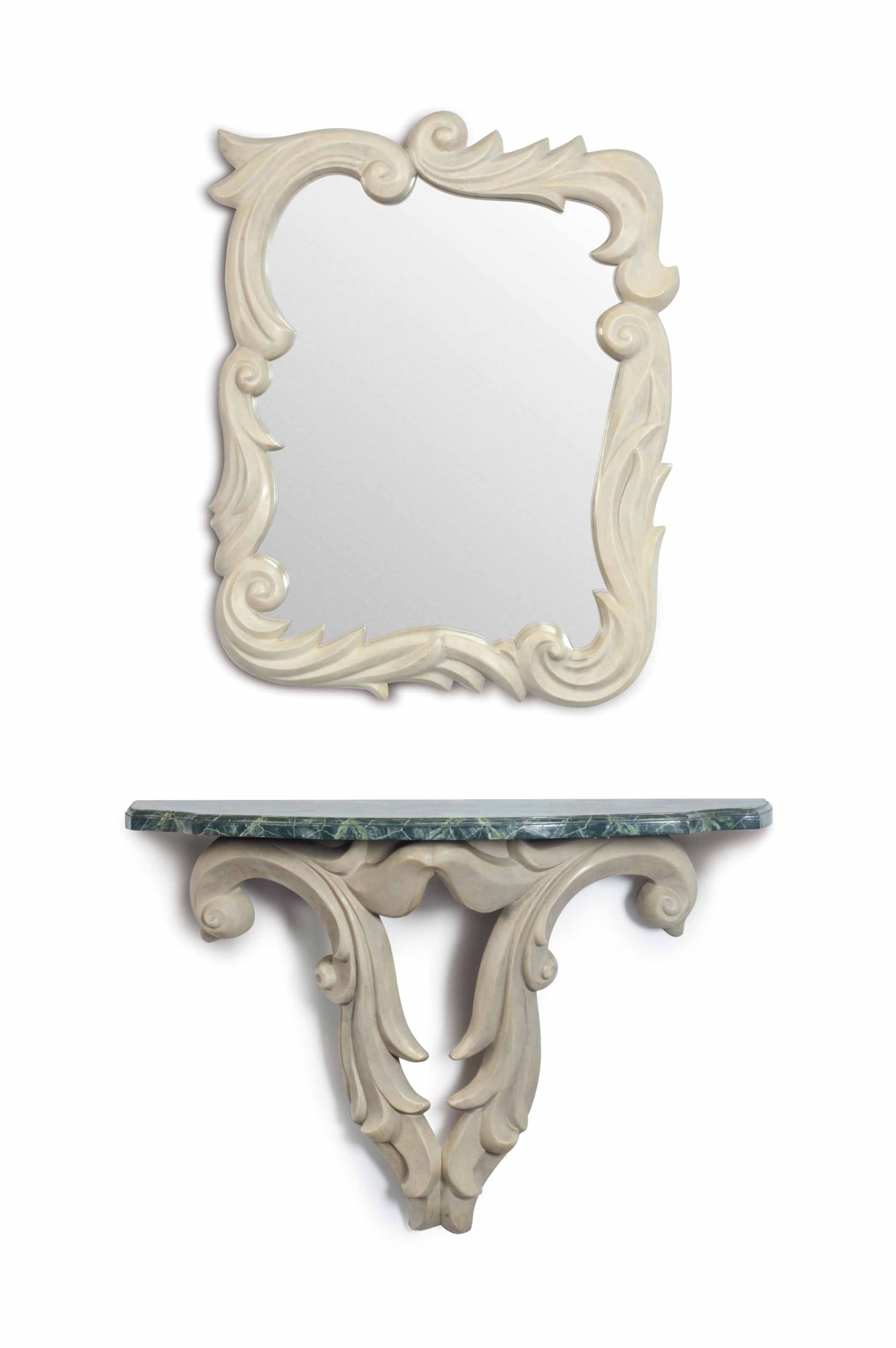 A FRENCH PLASTER AND FAUX MARBLE-TOP CONSOLE AND MIRROR,