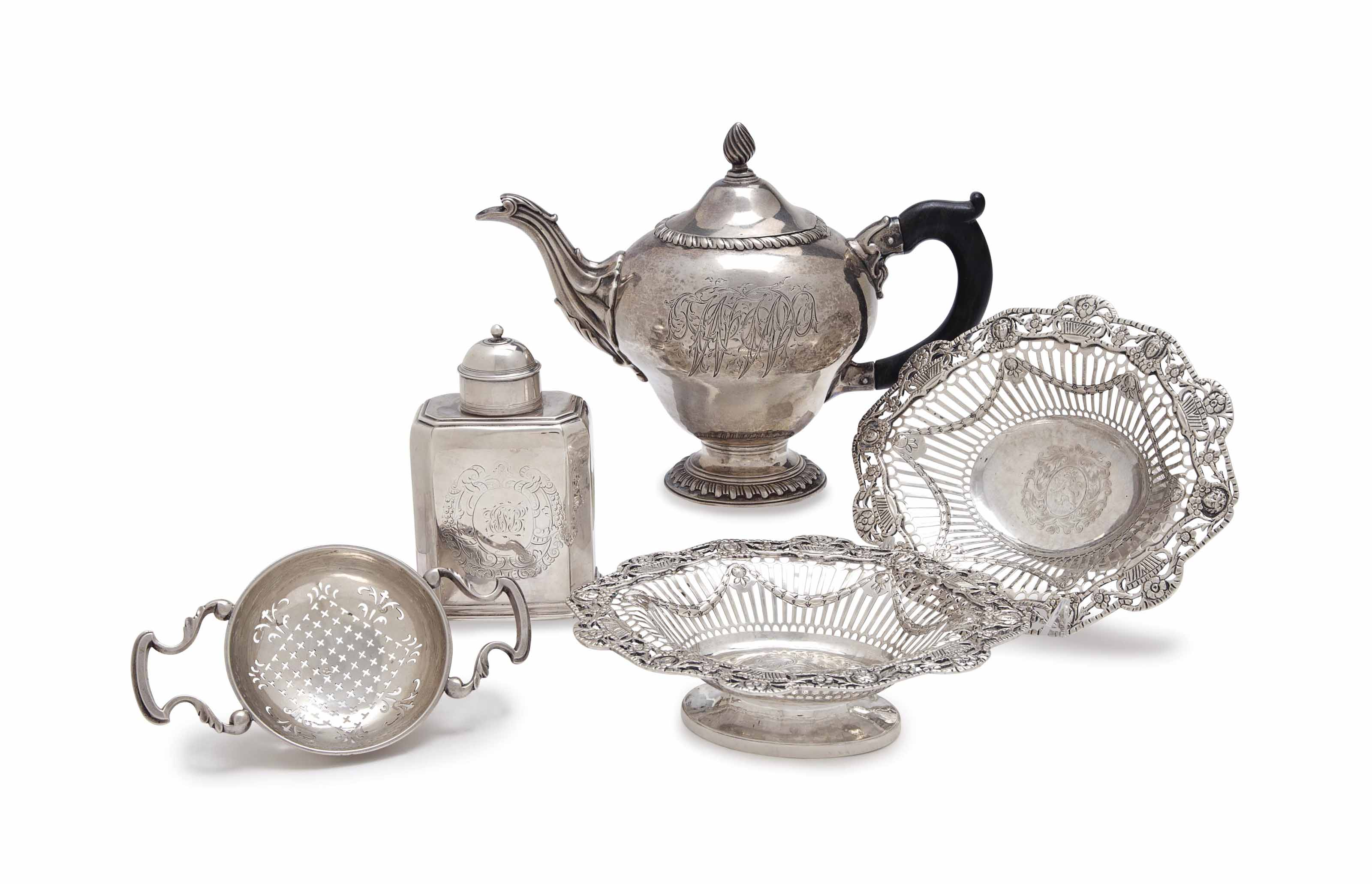 A GROUP OF ENGLISH SILVER TEA WARES,