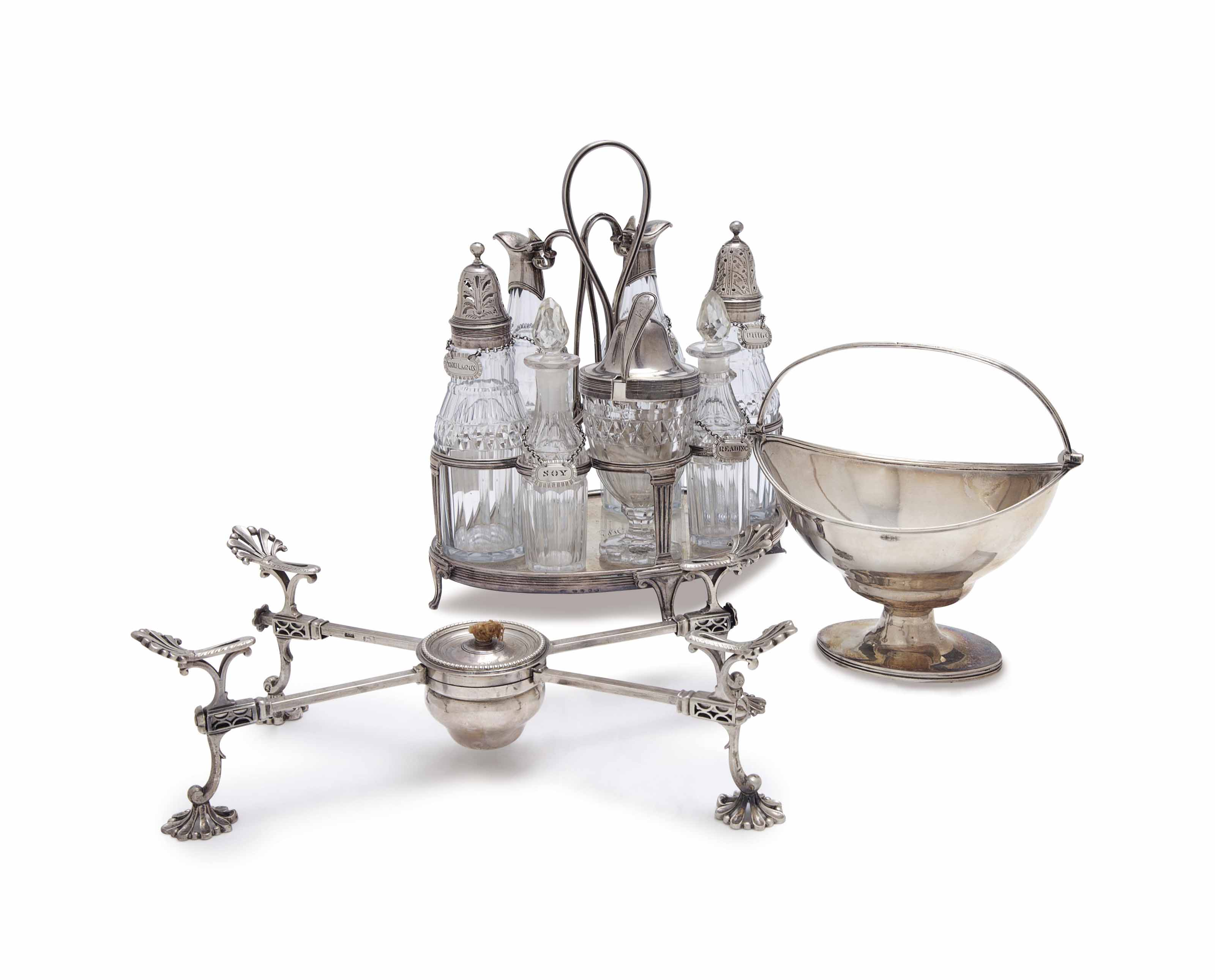 A GROUP OF GEORGE II AND GEORGE III SILVER AND CUT GLASS WARES,