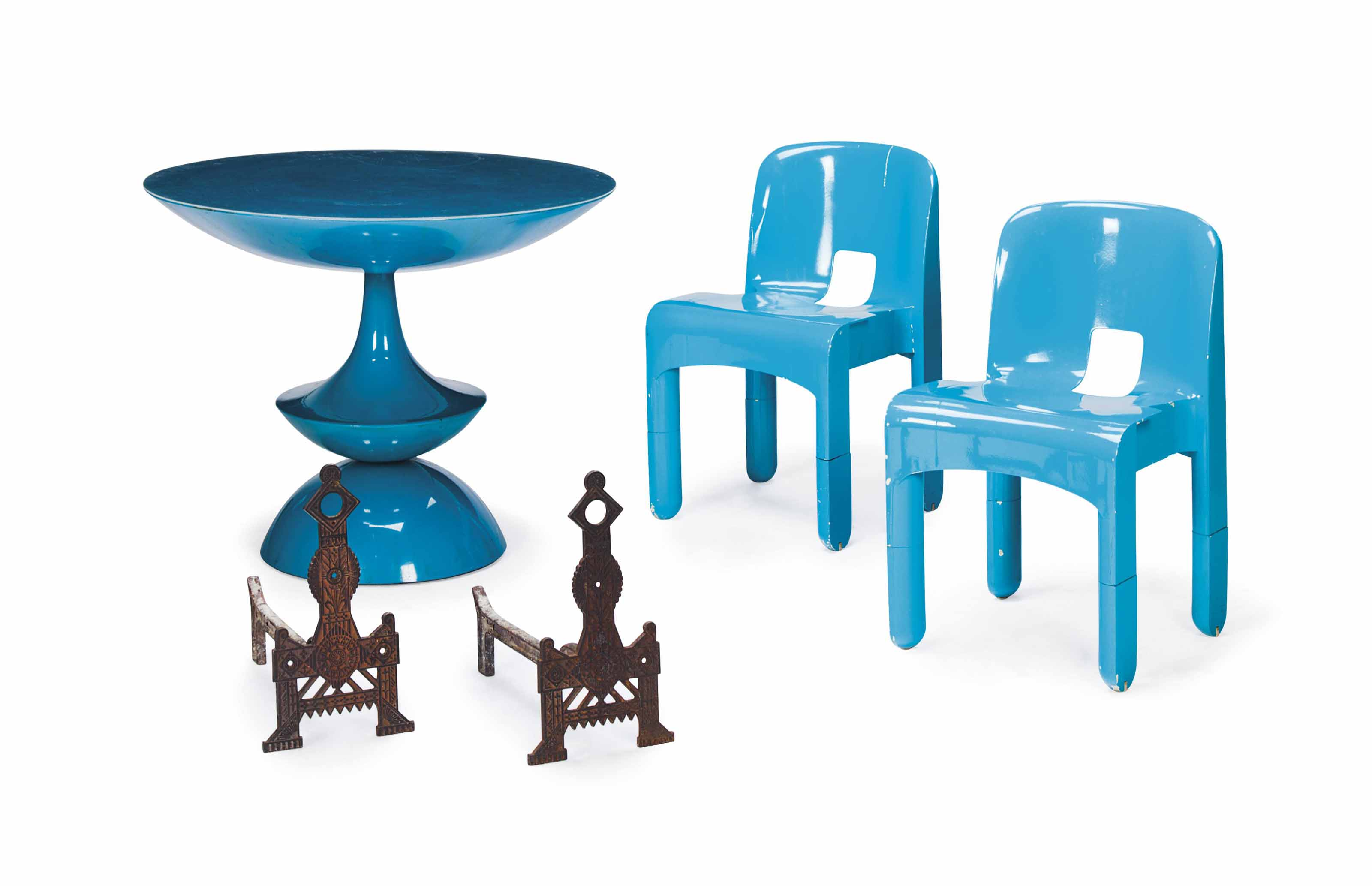 A GROUP OF ENGLISH CAST IRON FIREPLACE EQUIPMENT, AND A TURQUOISE PLASTIC CIRCULAR TABLE AND A PAIR OF TURQUOISE-PAINTED SIDE CHAIRS,