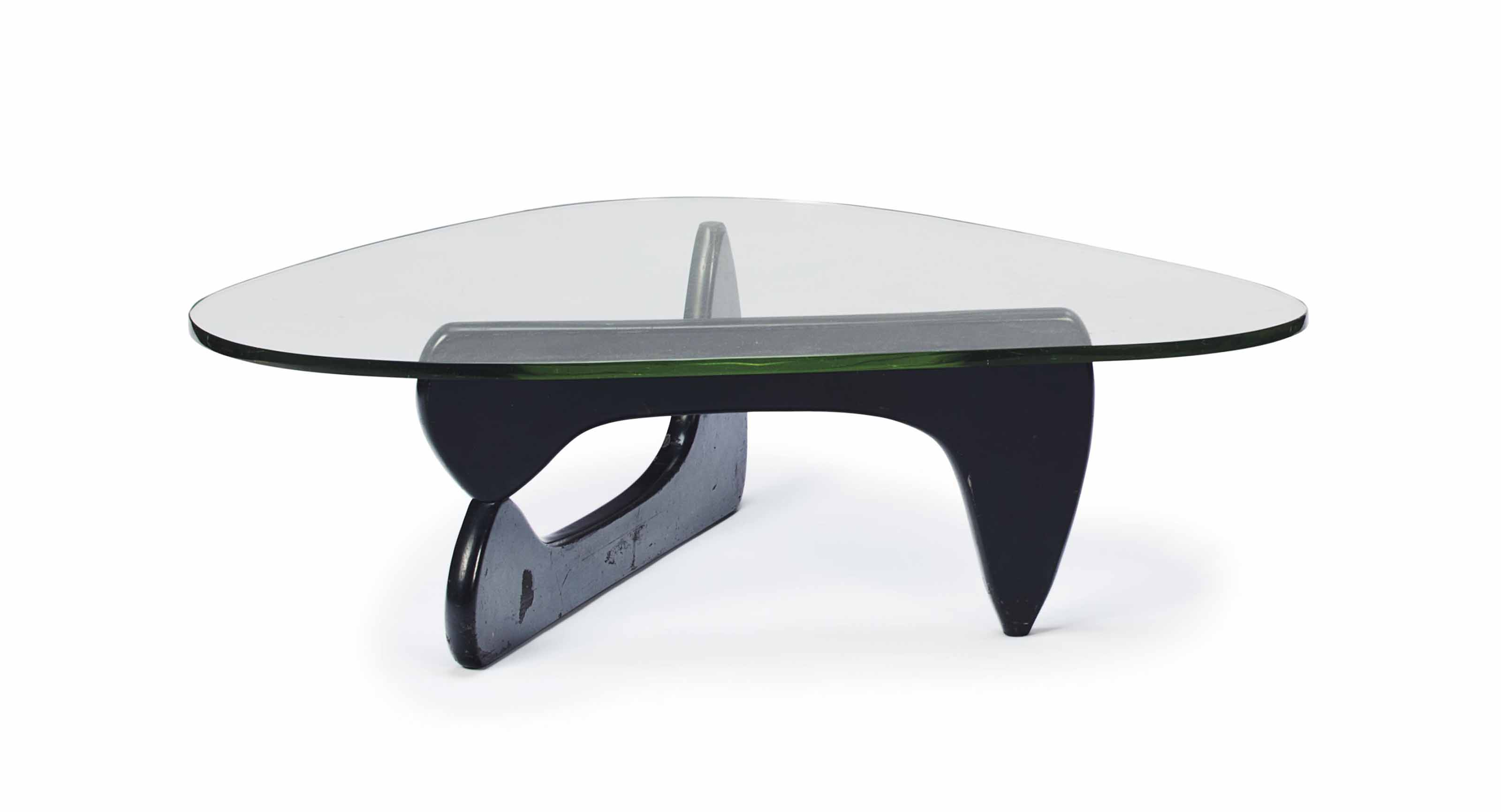 A MODEL 'IN-50' GLASS AND EBONIZED WOOD LOW TABLE,