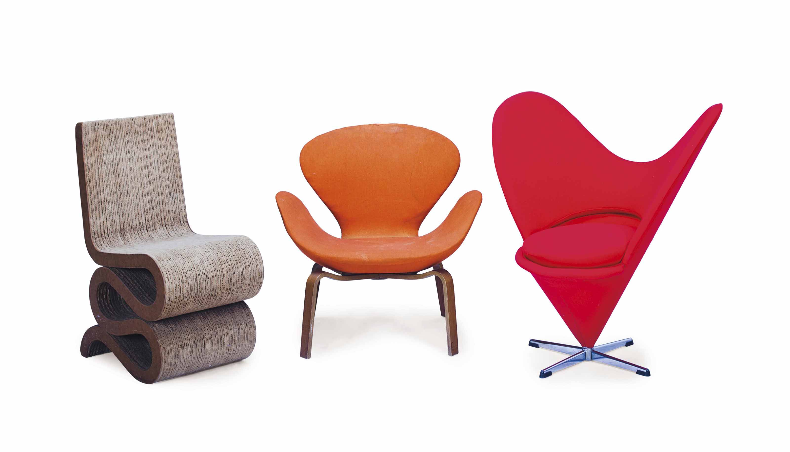 A RED UPHOLSTERED 'HEART' LOUNGE CHAIR, AND A CORRUGATED CARDBOARD 'WIGGLE' CHAIR,
