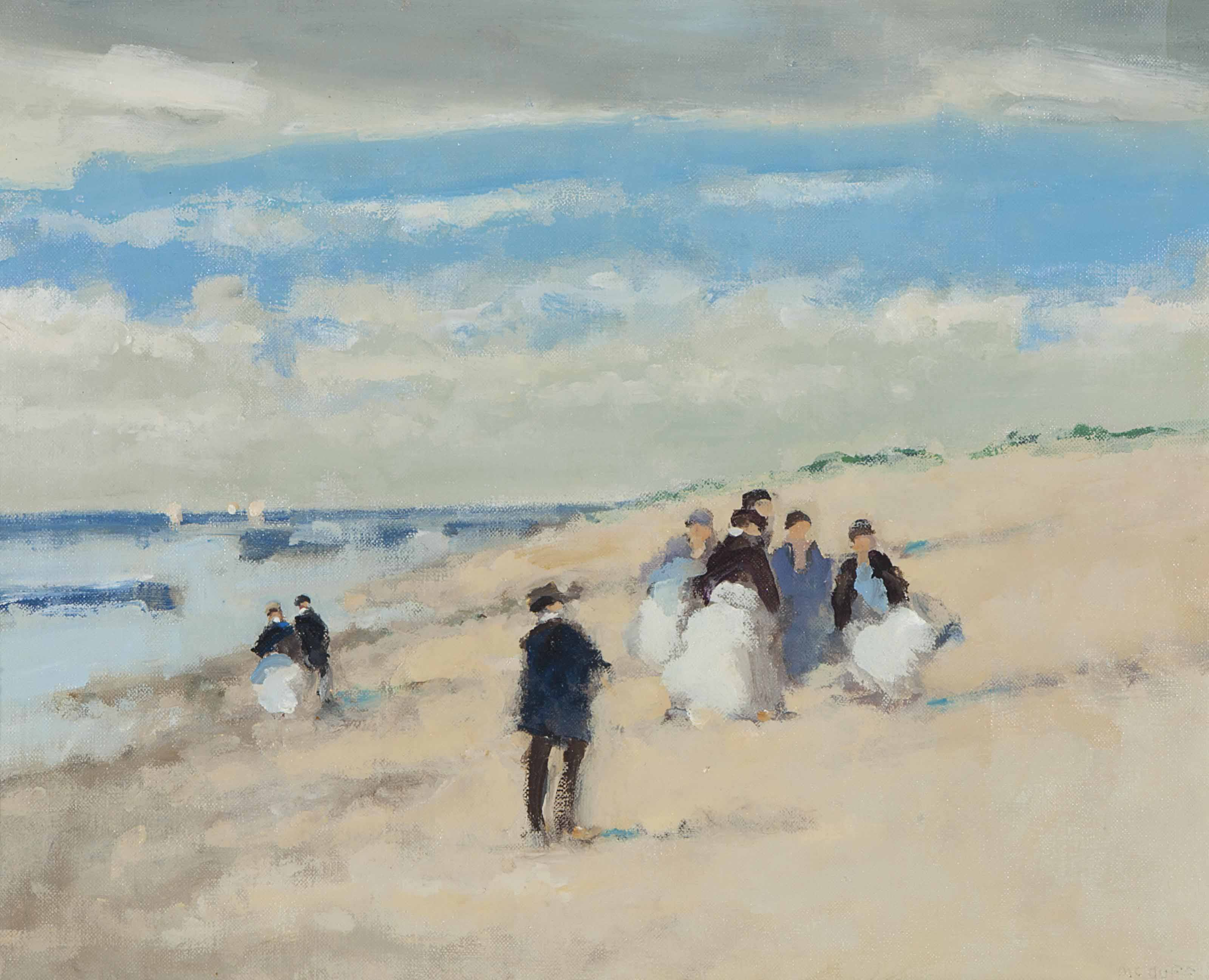 Figures on a beach; and a companion painting