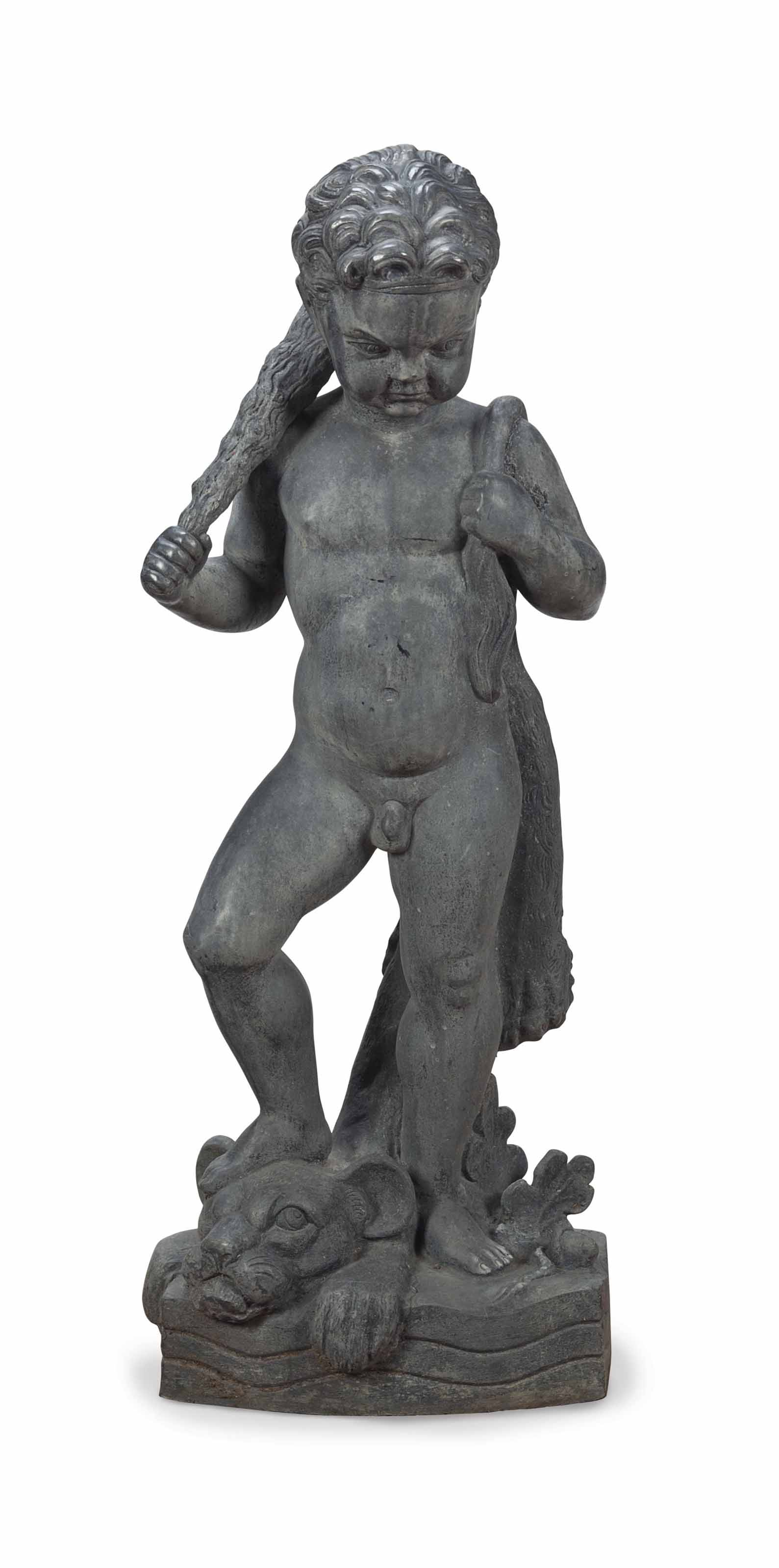 A LEAD MODEL OF A YOUNG HERCULES,