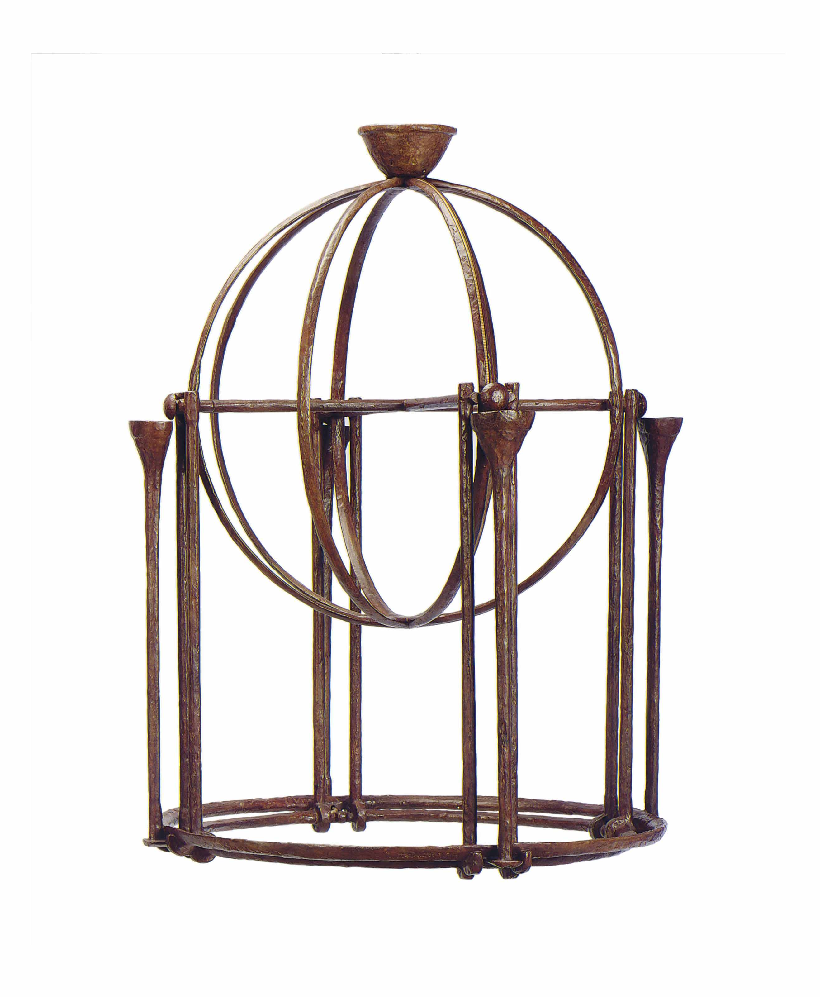 A FRENCH WROUGHT IRON FOUR-LIGHT HALL LANTERN,