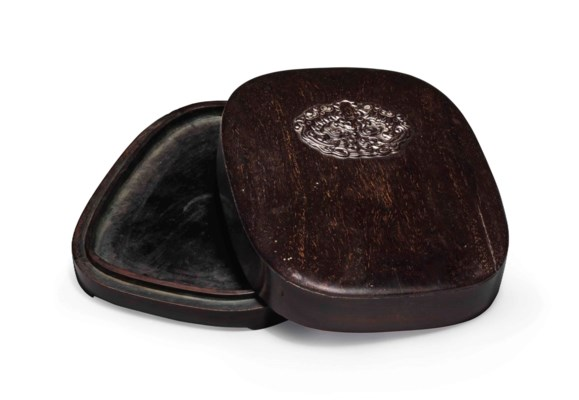 A ZITAN INKSTONE BOX AND COVER