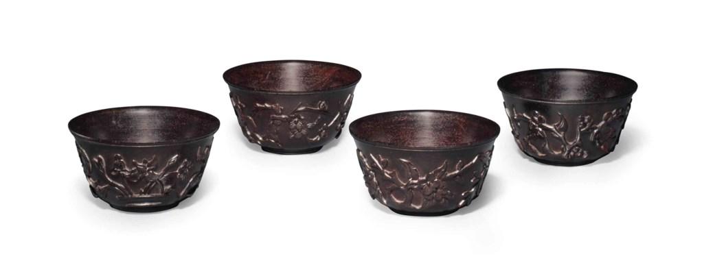 A SET OF FOUR ZITAN CUPS