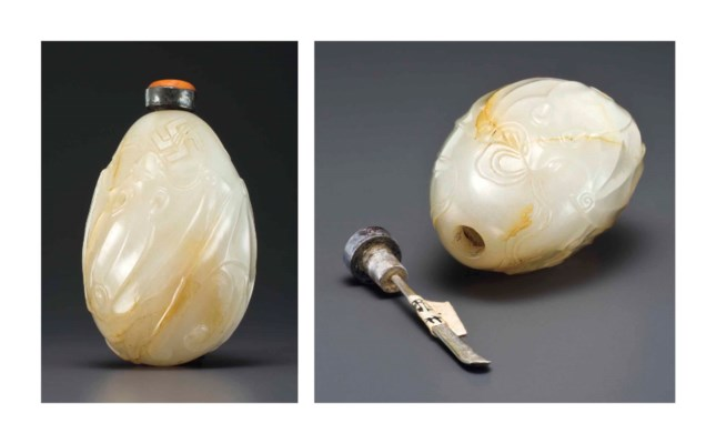 A WELL-CARVED WHITE JADE SNUFF
