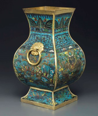 A CLOISONNE ENAMEL FACETED VAS