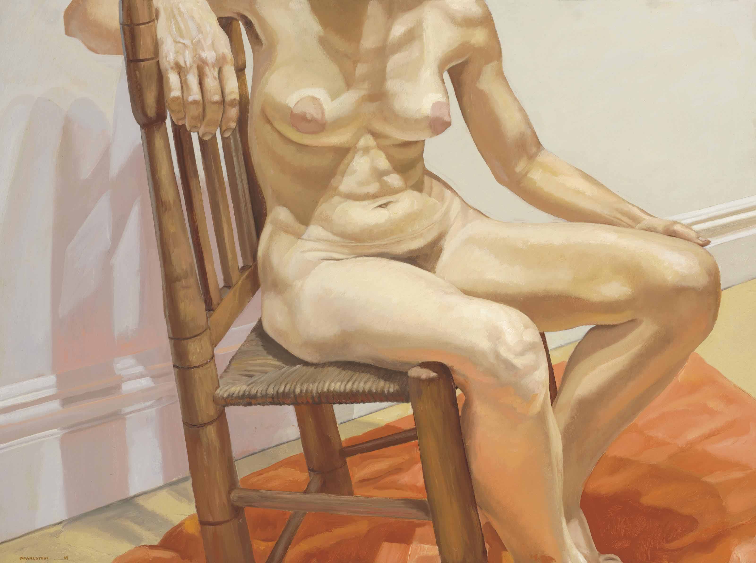Seated Female Nude on Salmon Colored Rug