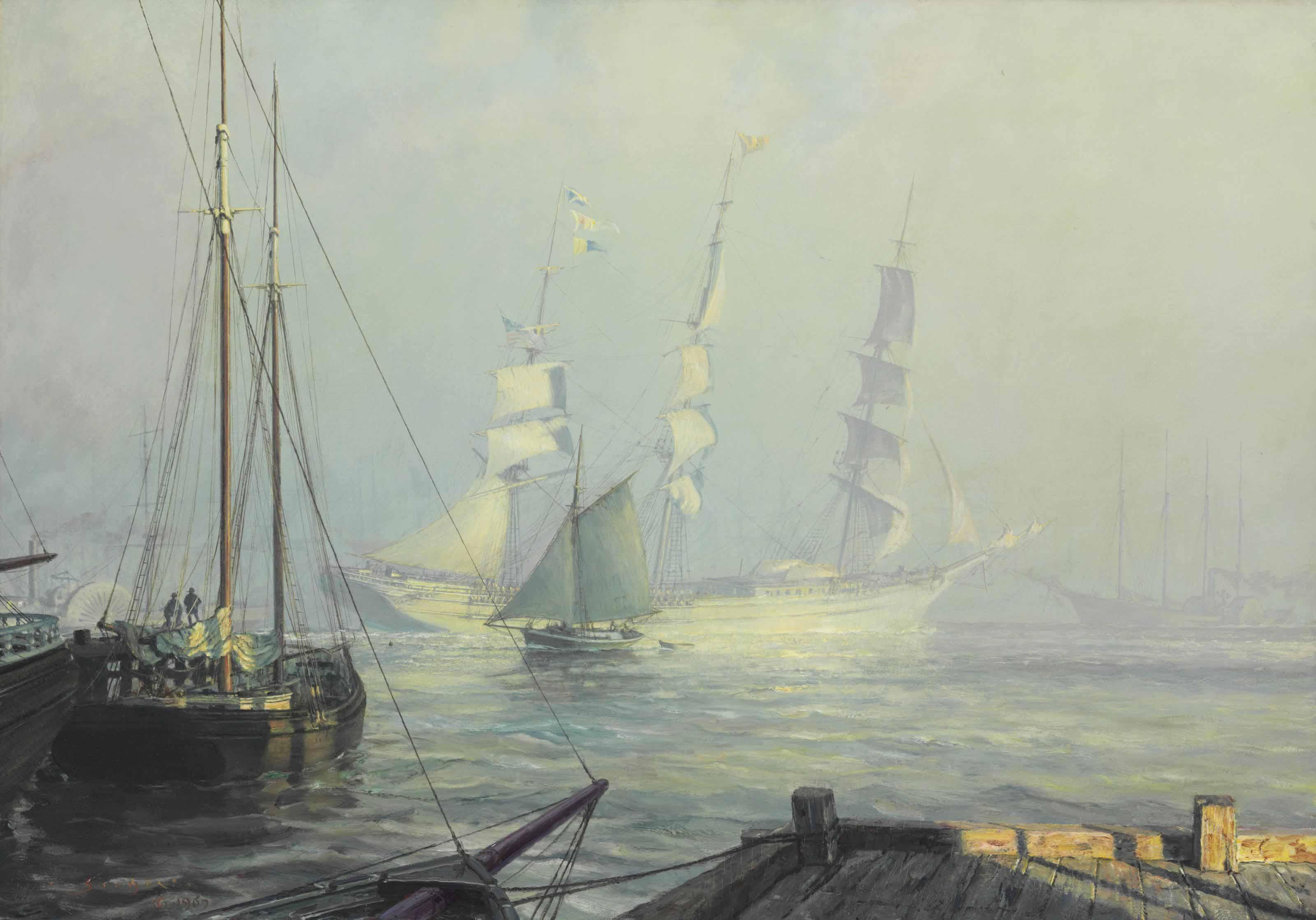 The Abner Coburn Leaving the East River in Mist