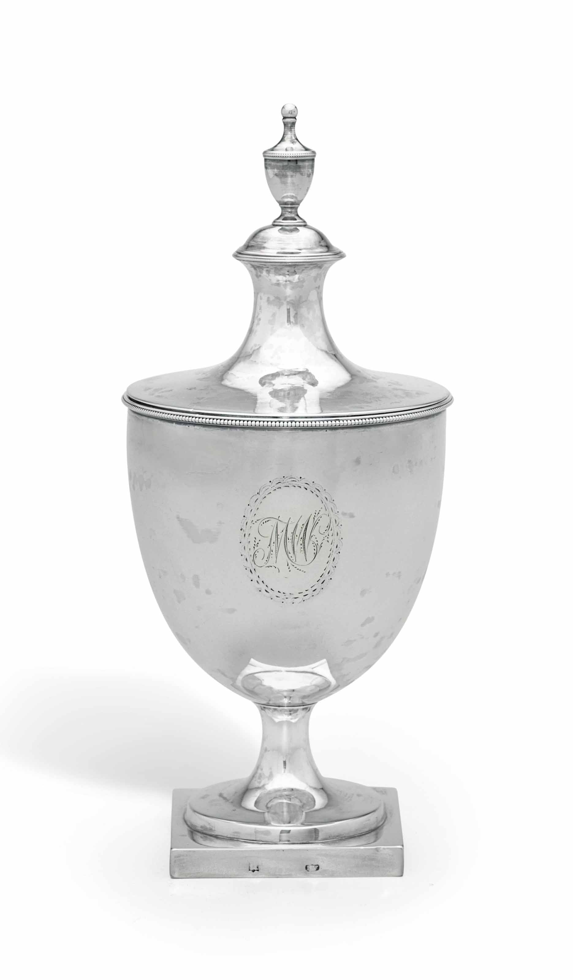 AN AMERICAN SILVER SUGAR URN AND COVER