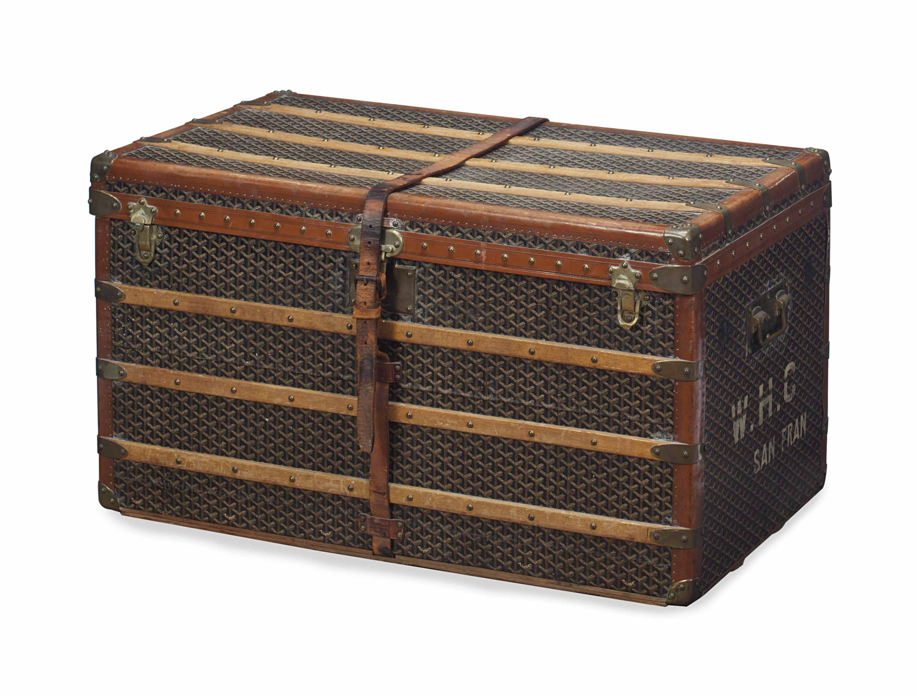A FRENCH PRINTED CANVAS AND WOOD STEAMER TRUNK,