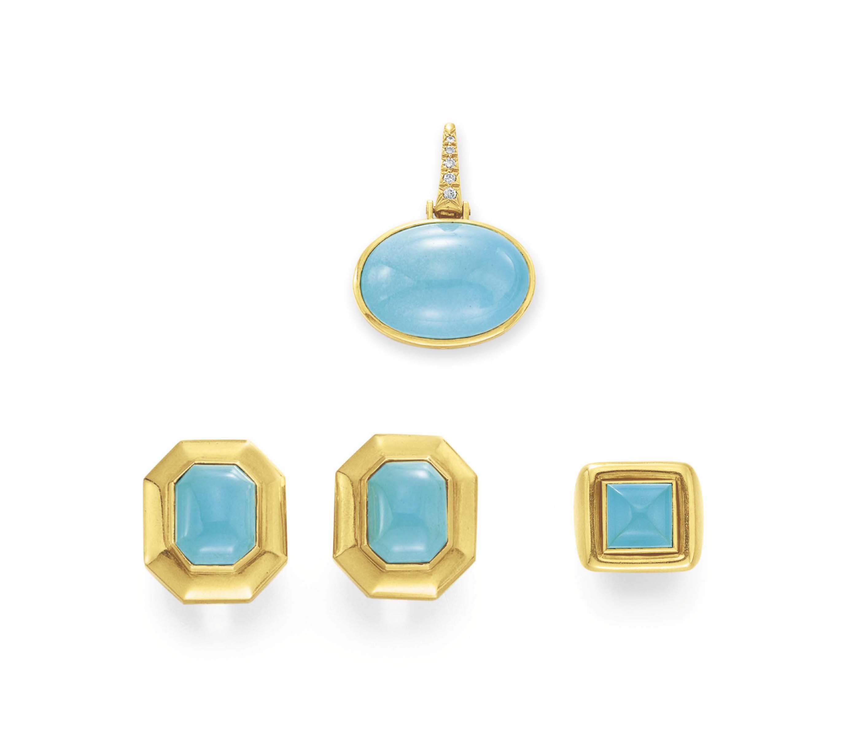 A GROUP OF TURQUOISE AND GOLD JEWELRY, BY ANDREW CLUNN