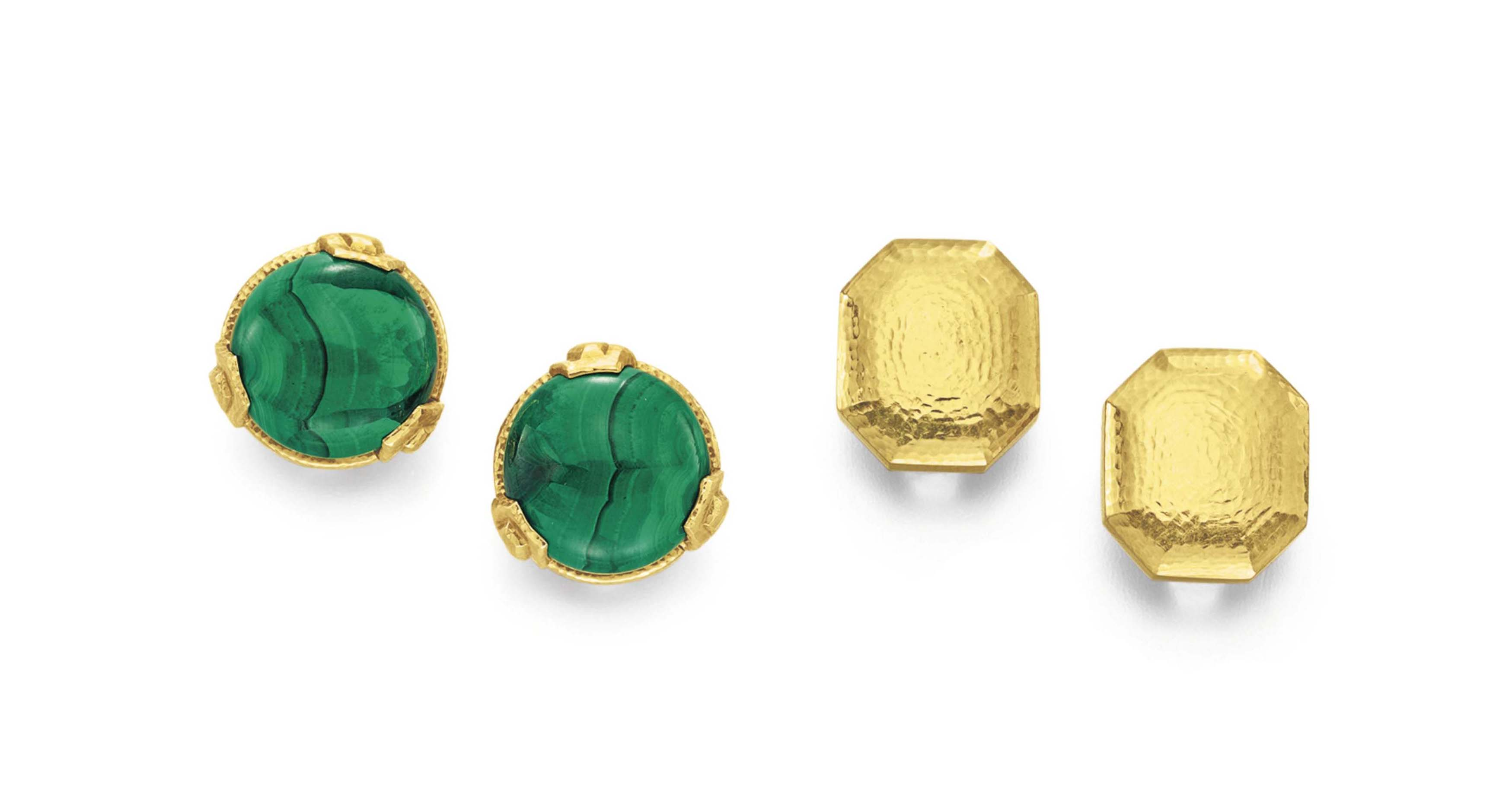 TWO PAIRS OF GOLD AND MALACHITE EAR CLIPS