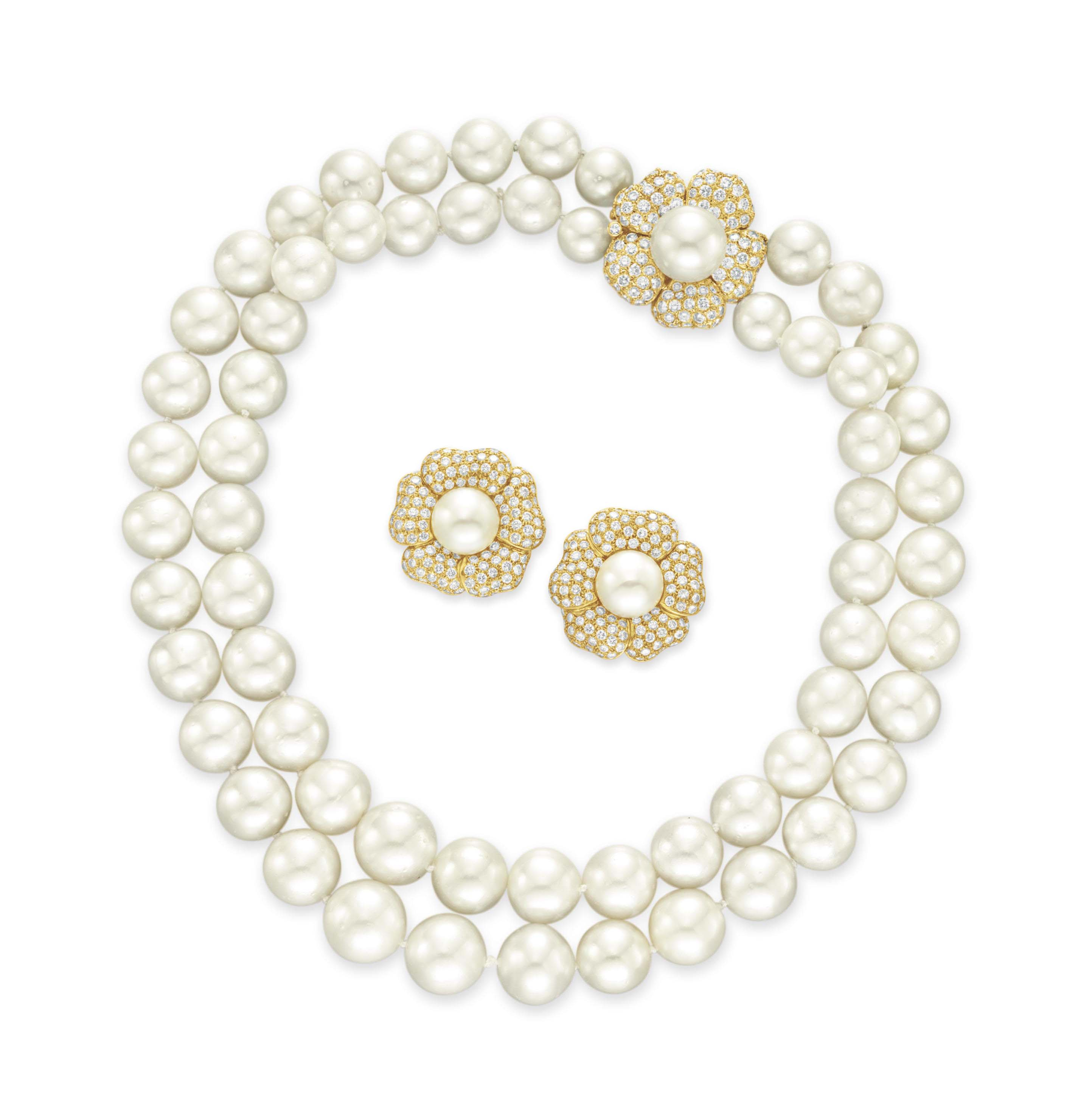 A SET OF CULTURED PEARL AND DIAMOND JEWELRY, BY TRIO