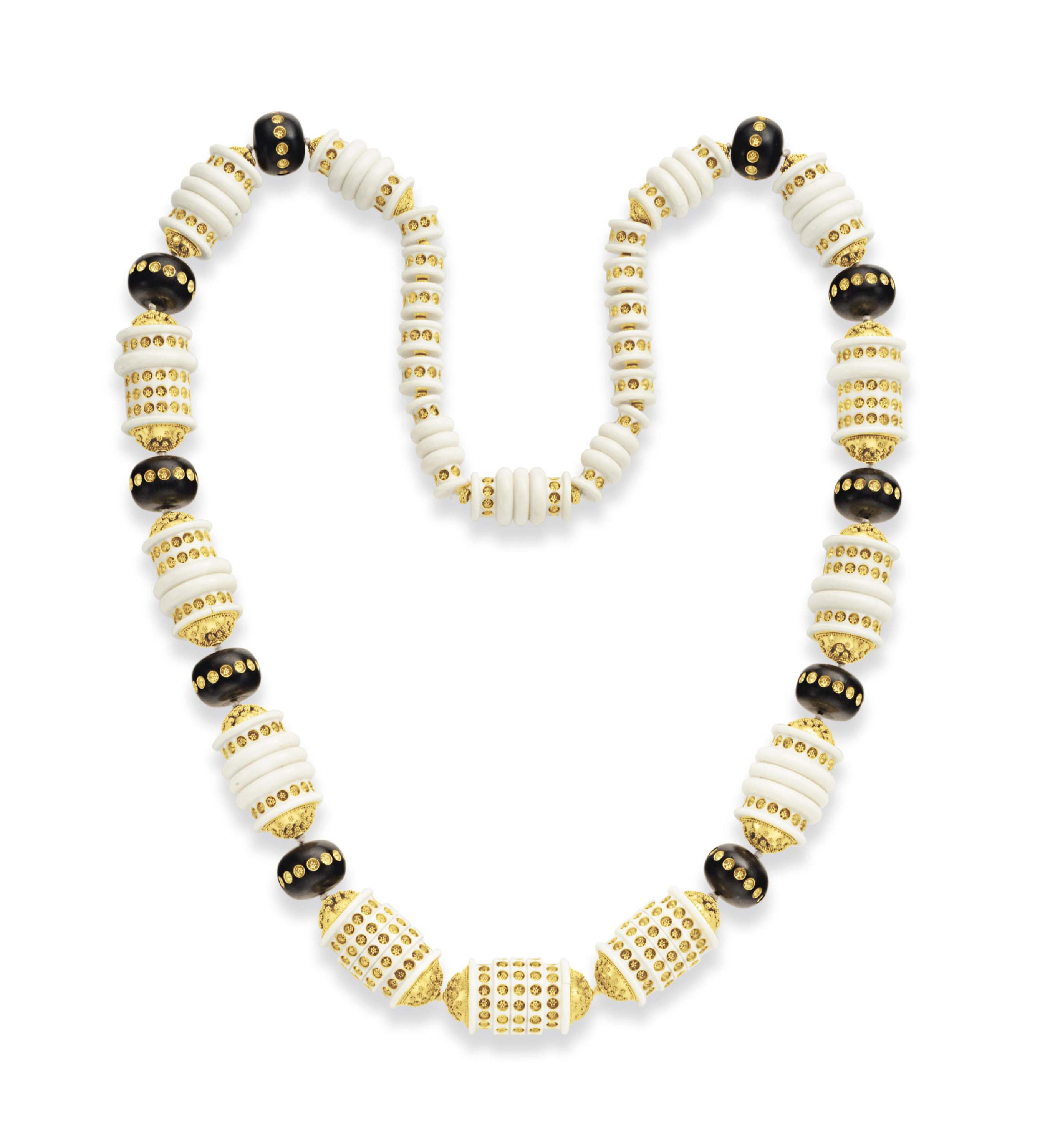 ~AN IVORY AND WOOD BEAD NECKLACE, BY DANIEL BRUSH