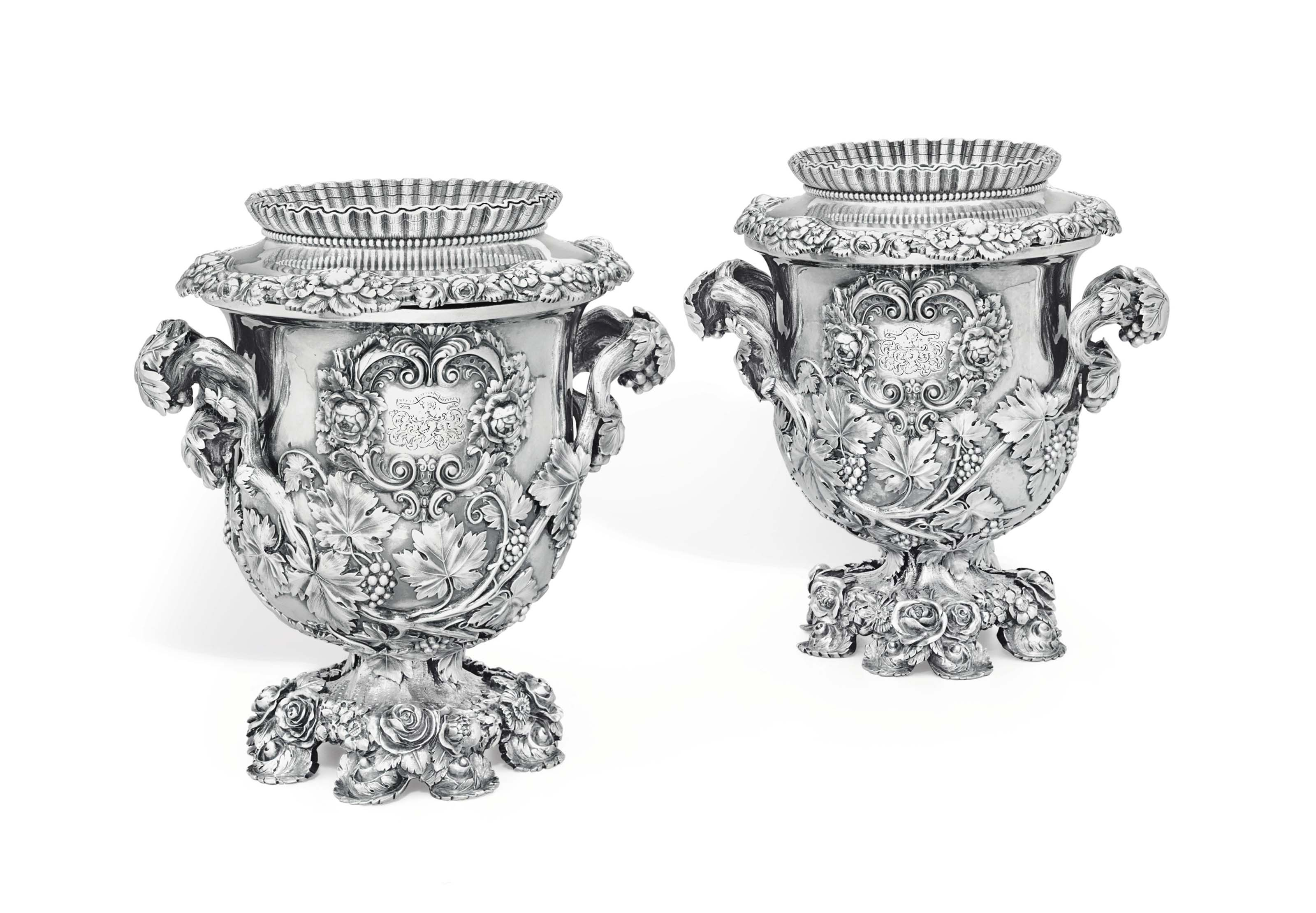 A PAIR OF GEORGE IV SILVER WINE COOLERS