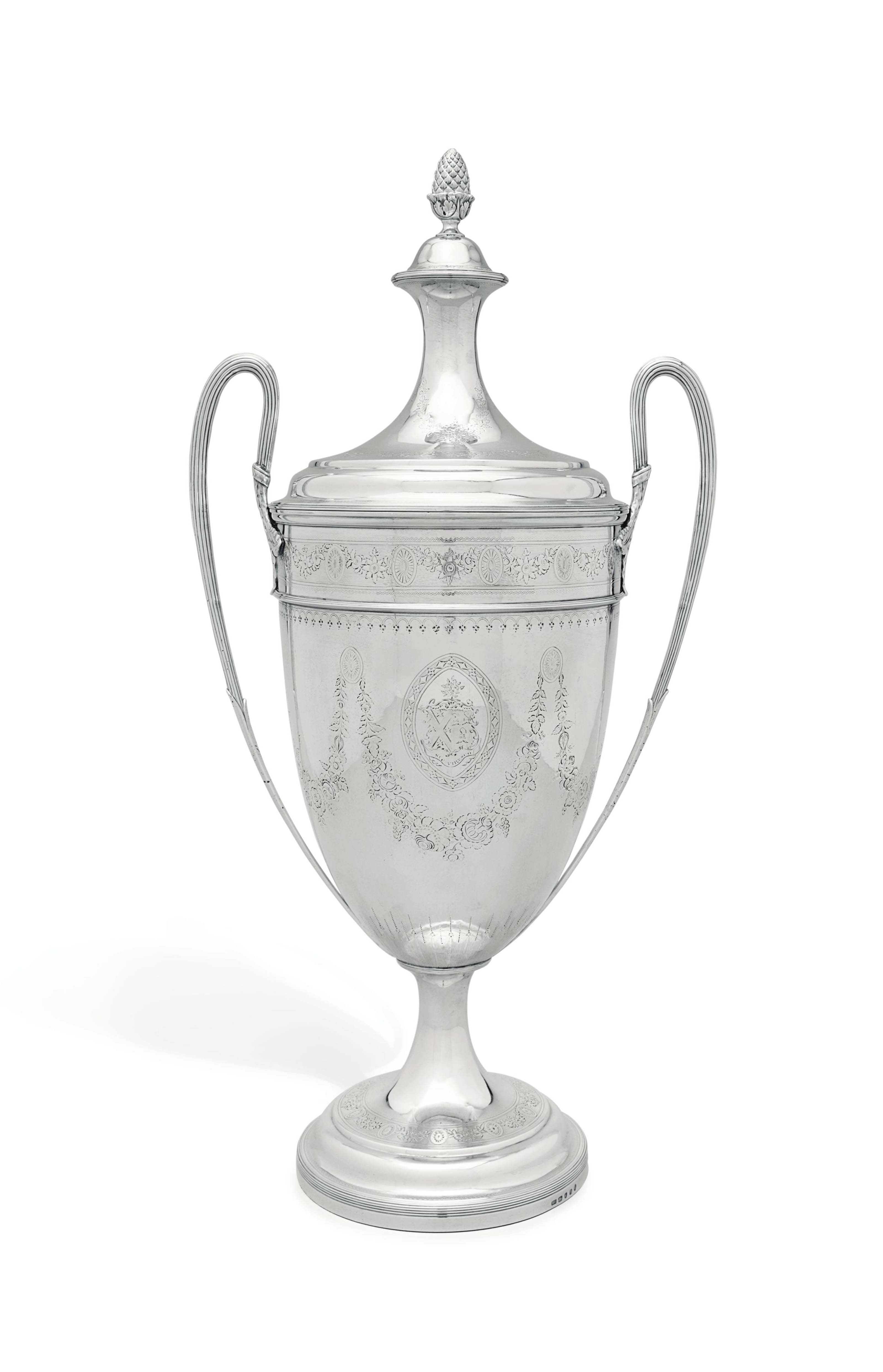 A LARGE GEORGE III SILVER CUP AND COVER