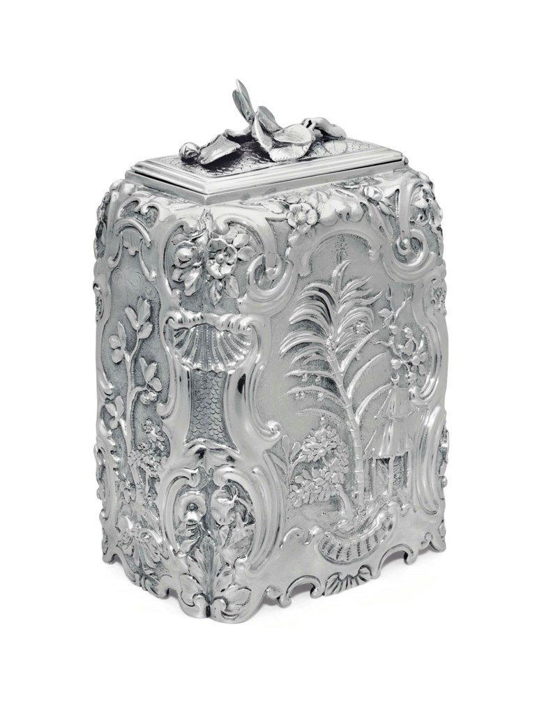 A George II silver sugar box, mark of Paul de Lamerie, London, 1746. 5½  in (14  cm) high; 14  oz 10  dwt (455  gr). Sold for $47,500 on 23 October 2013  at Christie's in New York