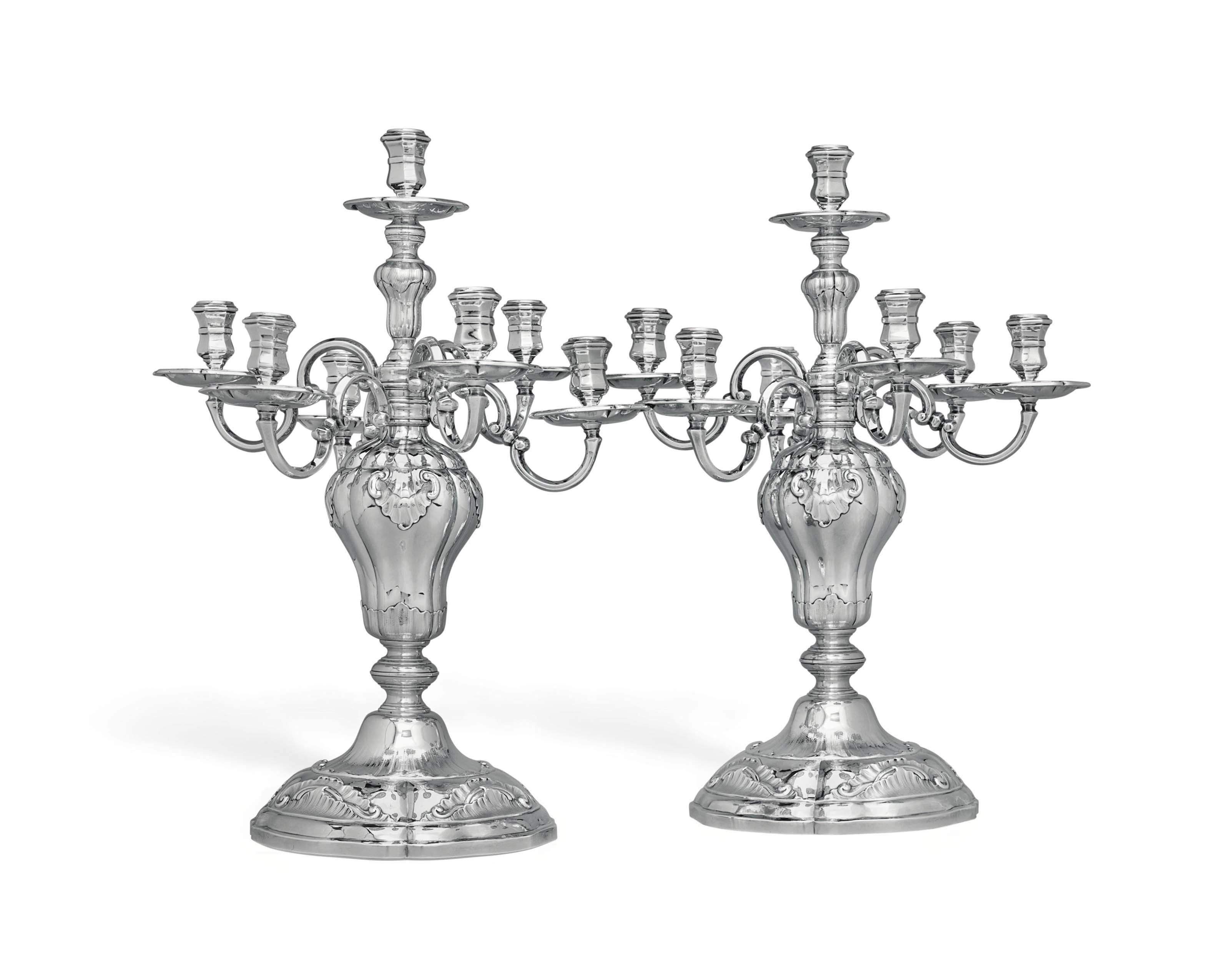 A PAIR OF DANISH SILVER SEVEN-LIGHT CANDELABRA