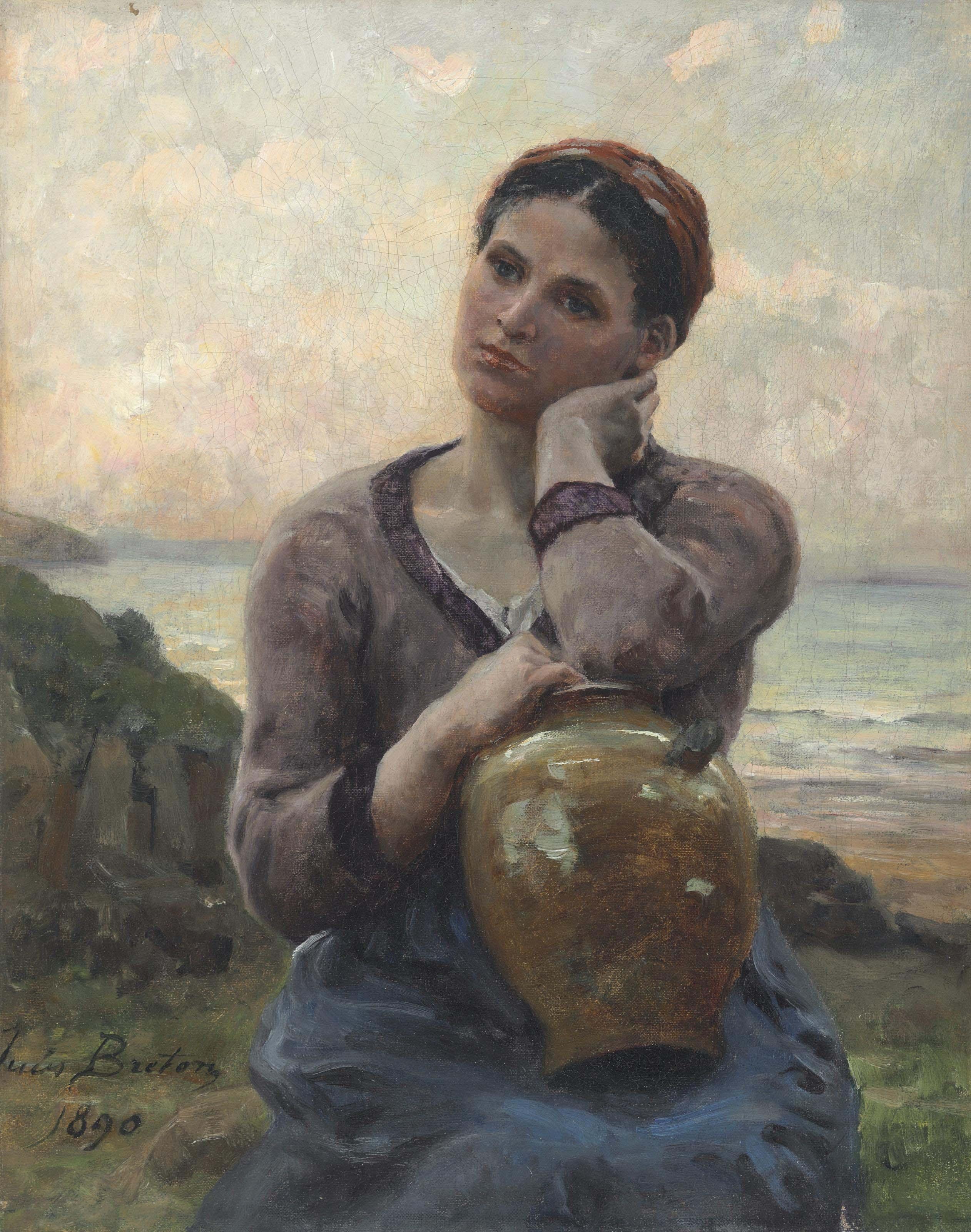 Jeune paysanne à la cruche sur fond de mer