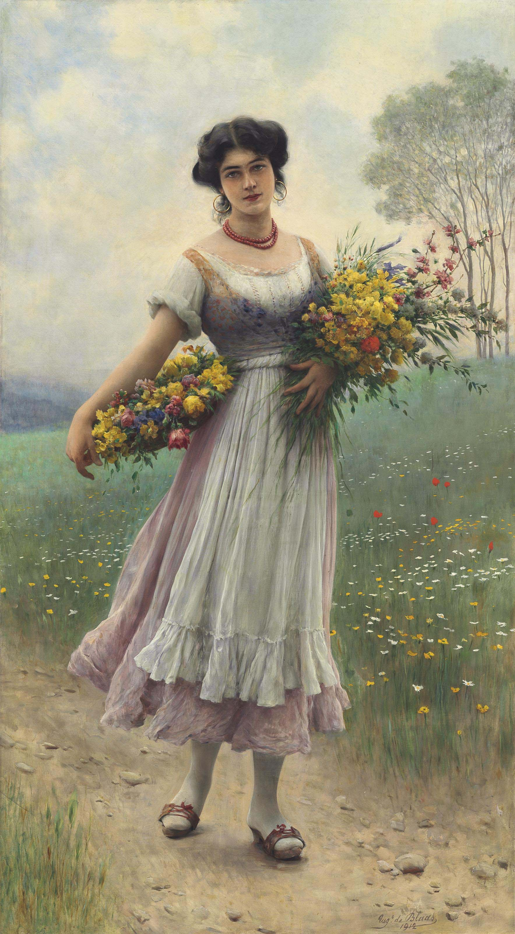 A Maiden gathering Flowers