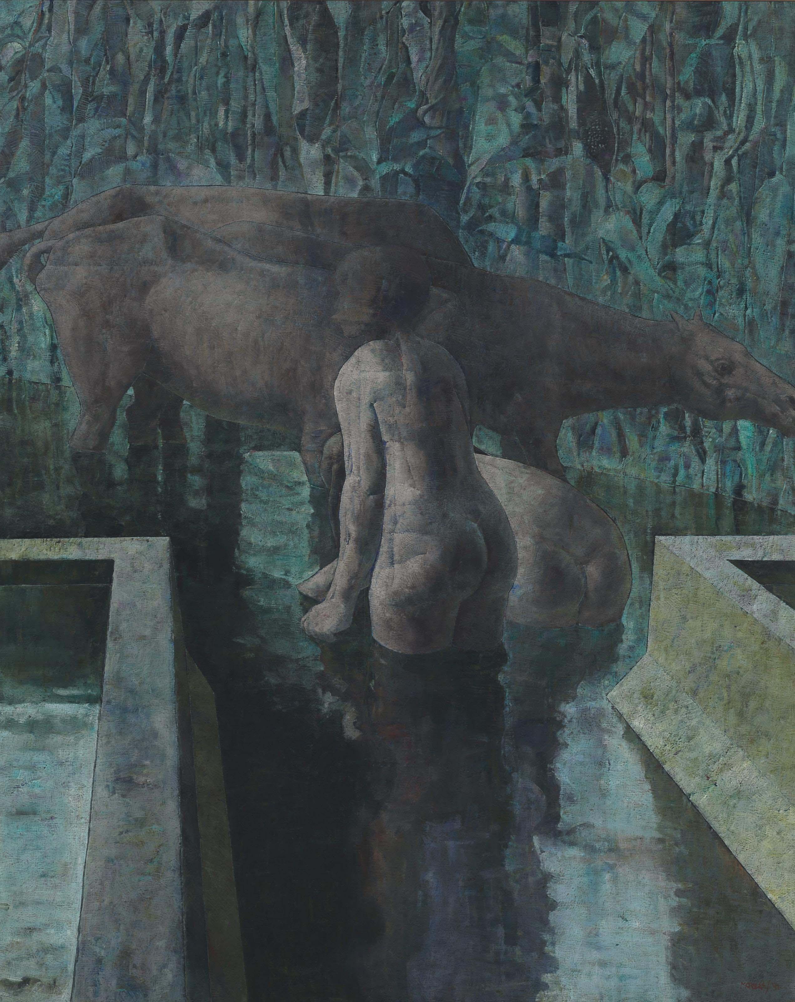 Deux baigneuses et chevaux