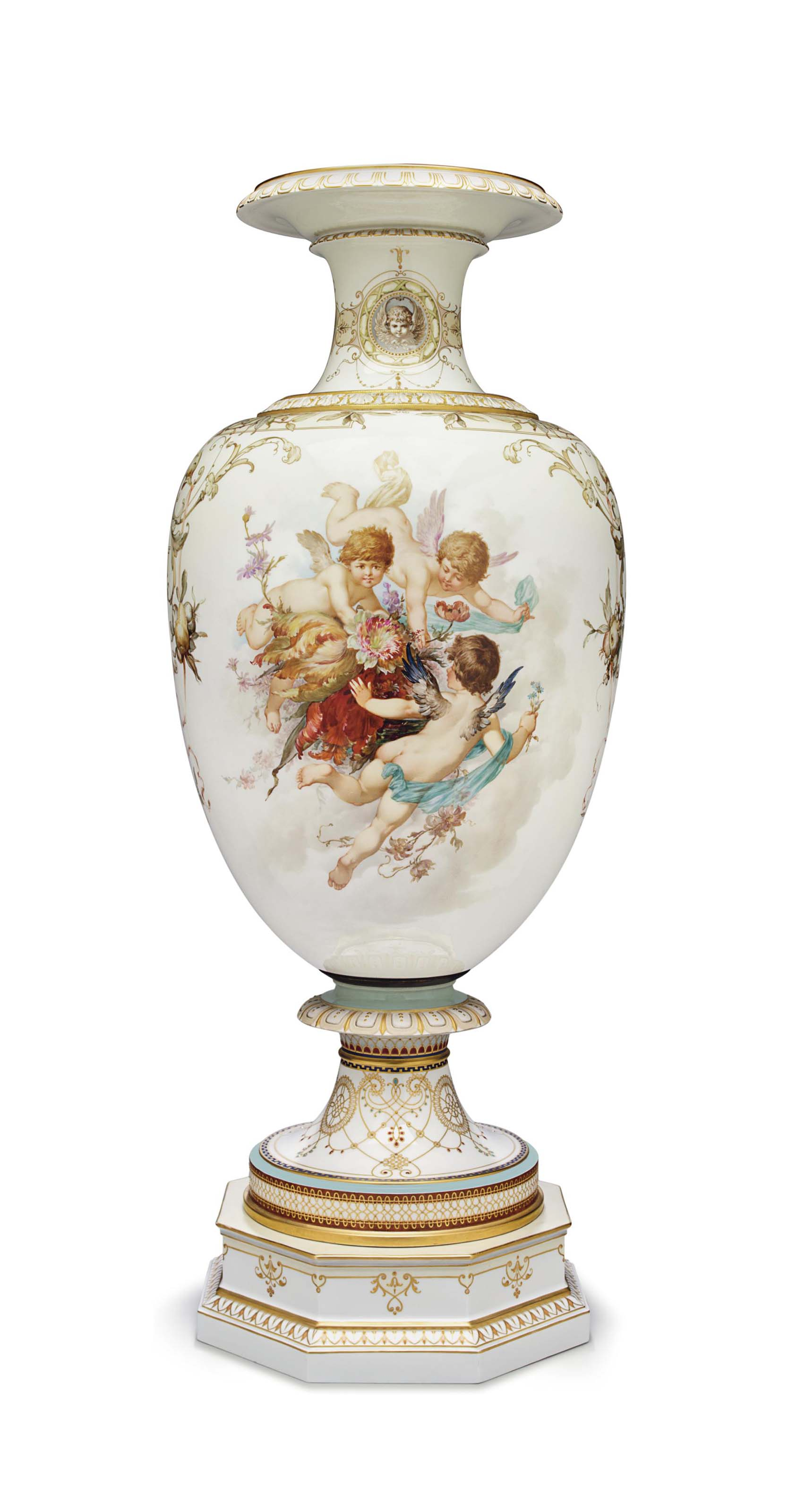 A LARGE BERLIN (K.P.M.) PORCELAIN 'JEWELED' VASE ON OCTAGONAL STAND