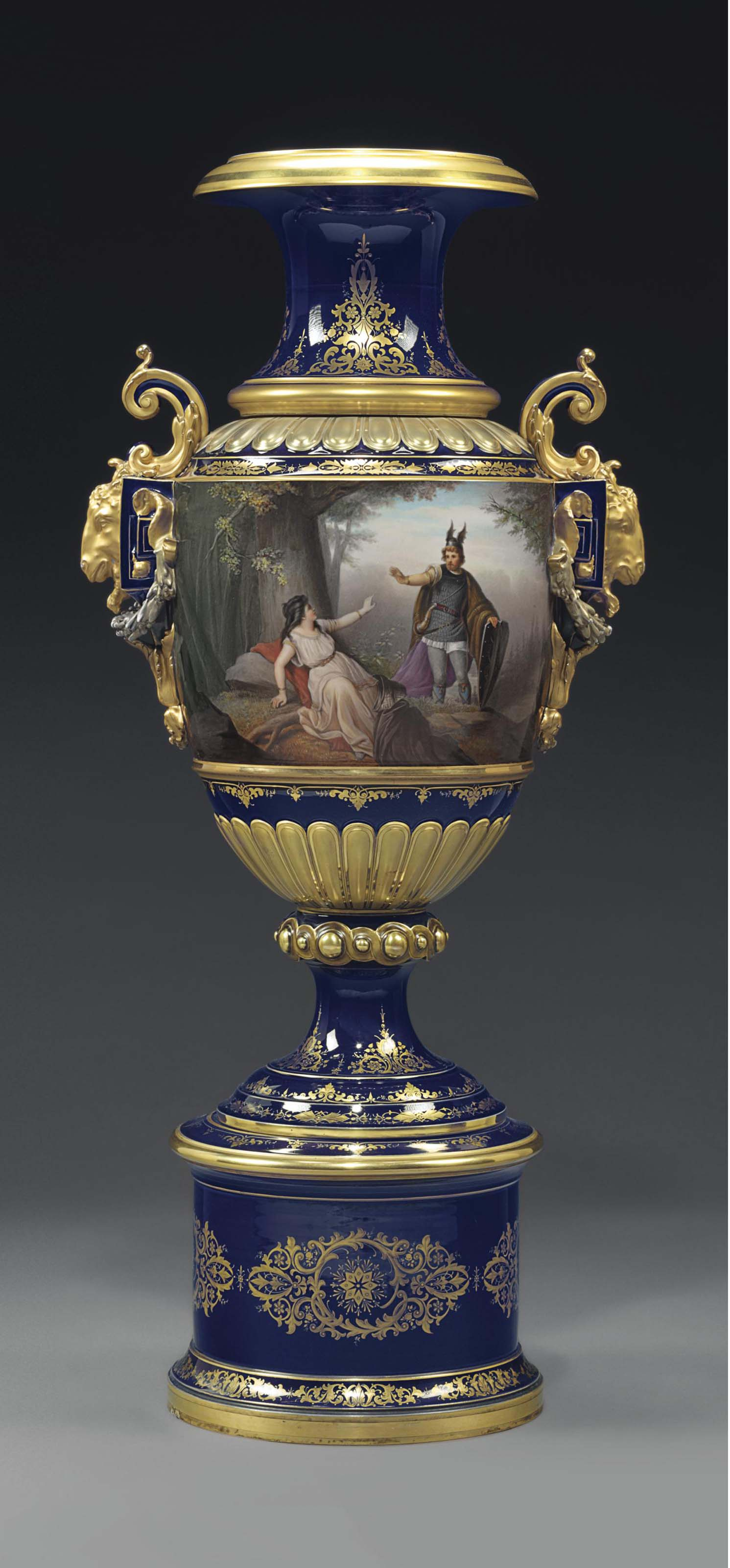 A MONUMENTAL VIENNA STYLE PORCELAIN COBALT-BLUE GROUND VASE AND STAND