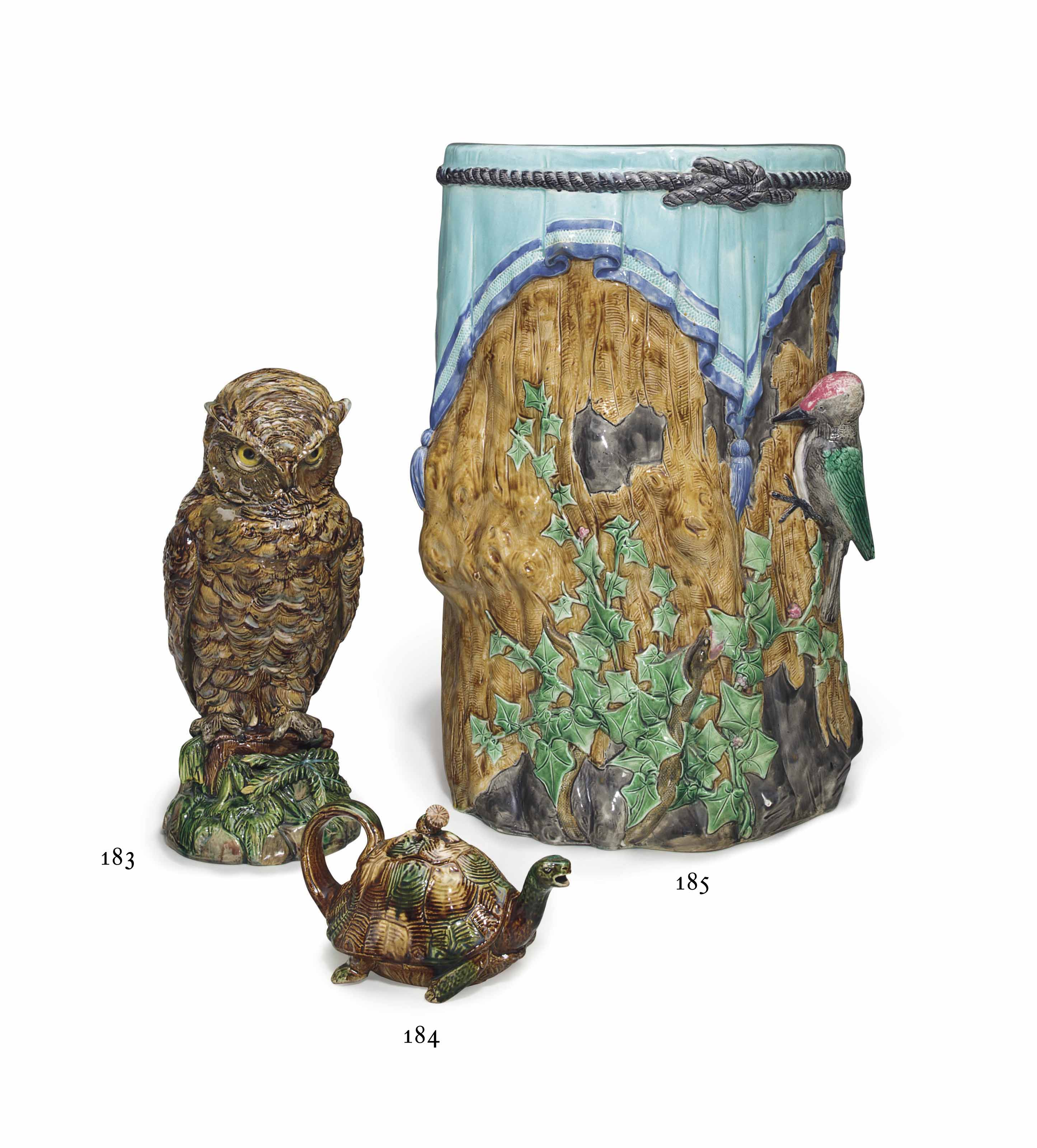 A WILLIAM SCHILLER & SON MAJOLICA MODEL OF AN OWL