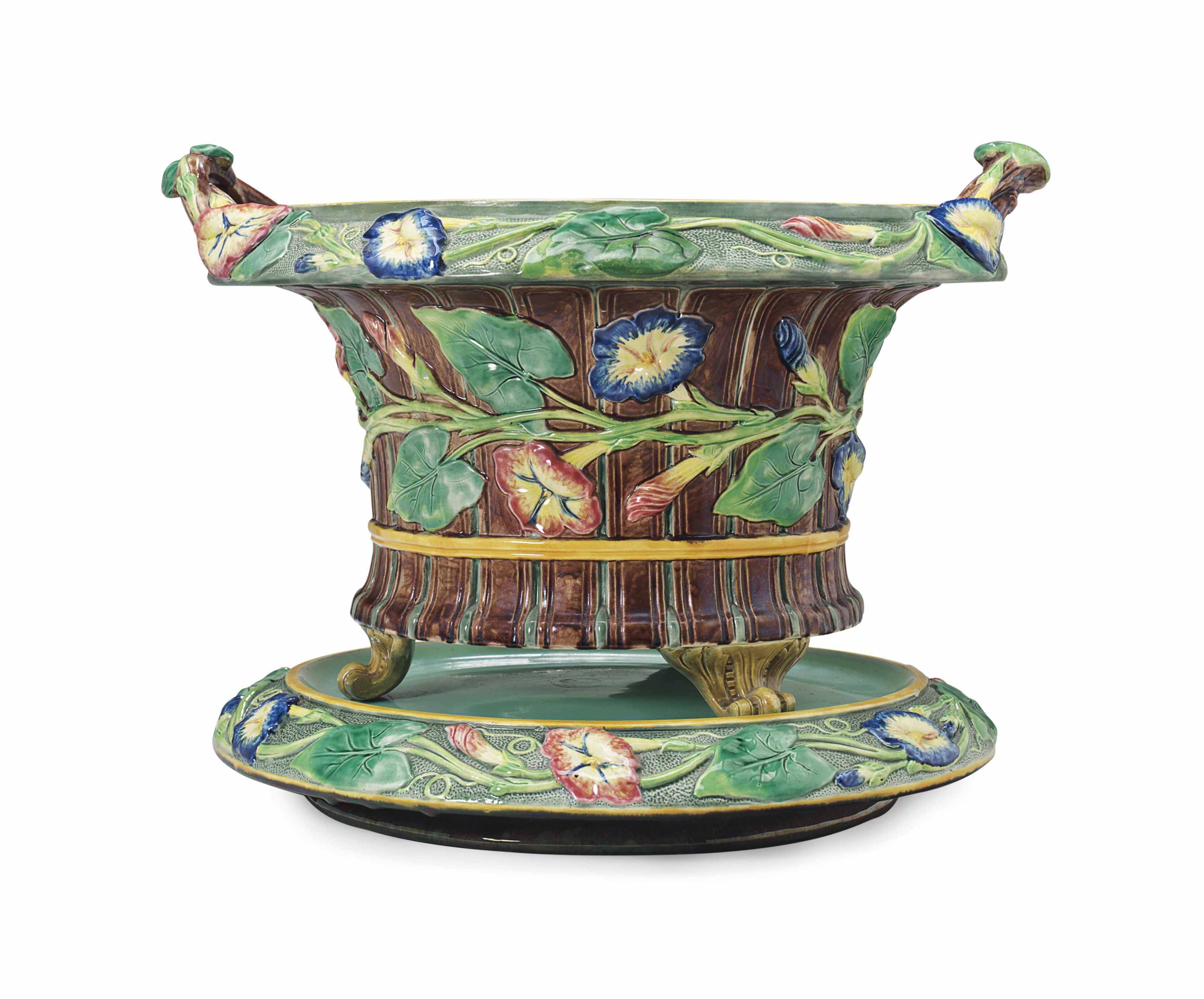 A COPELAND TWO-HANDLED JARDINIERE AND STAND