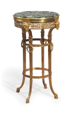 A FRENCH ORMOLU AND GREEN MARB