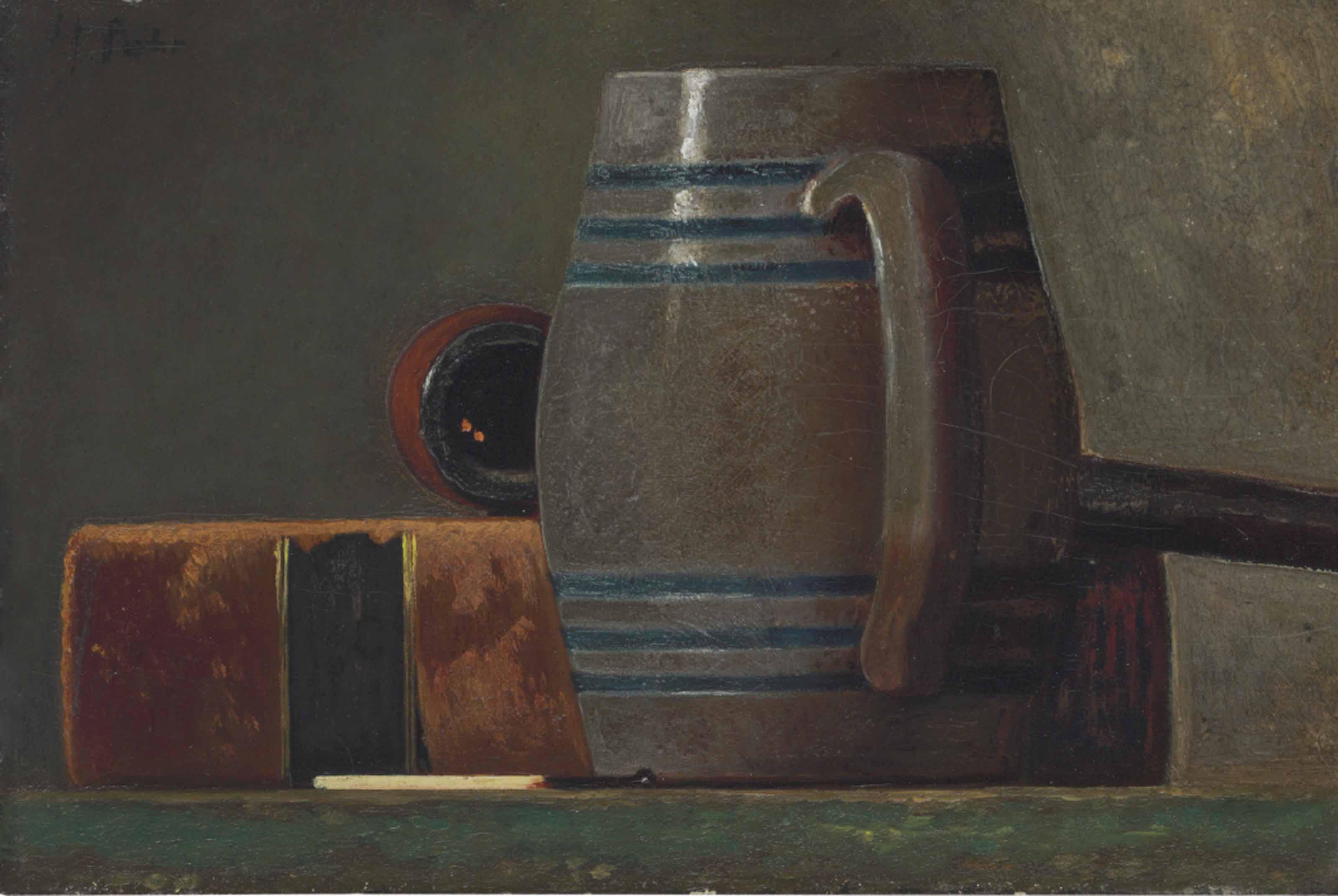 Salt-Glazed Mug, Book, Pipe and Match
