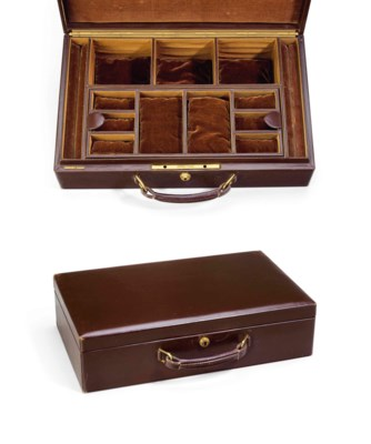 A LEATHER JEWELRY TRAVEL CASE,
