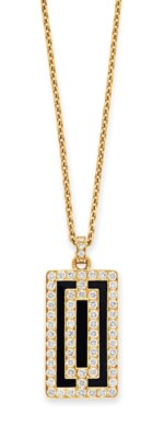AN ONYX, DIAMOND AND GOLD PEND