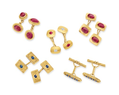 A GROUP OF MULTI-GEM CUFFLINKS
