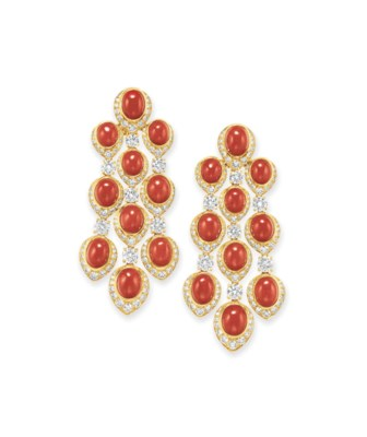 ~A PAIR OF CORAL AND DIAMOND E