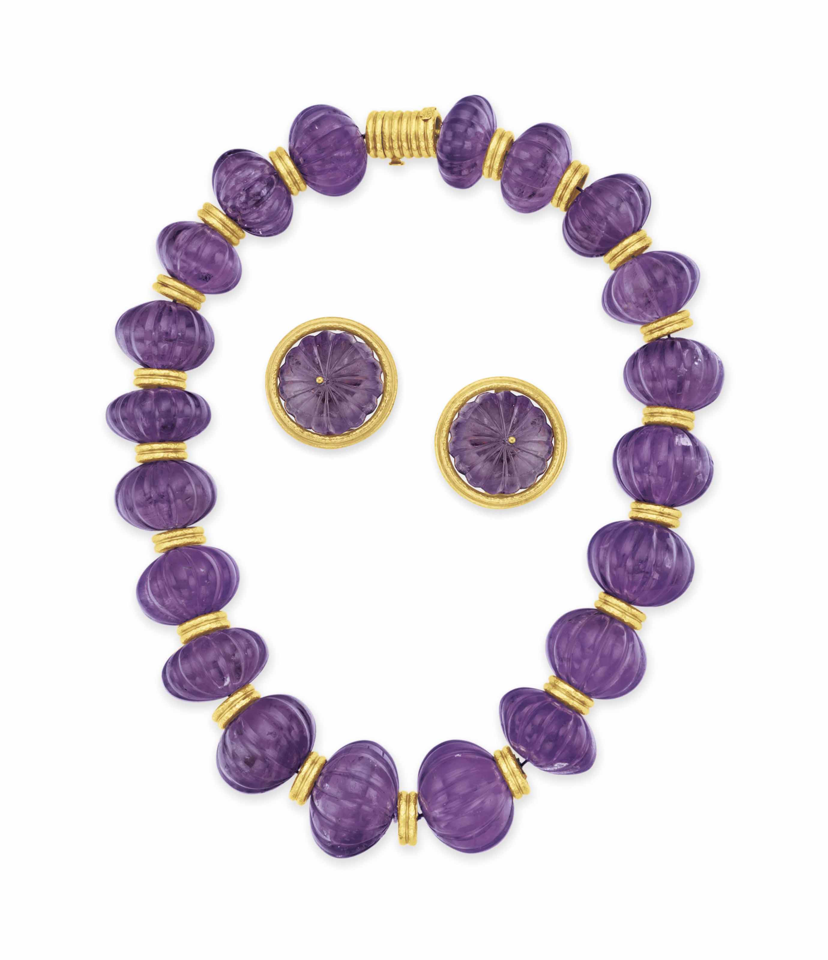A SET OF AMETHYST AND GOLD JEWELRY, BY ZOLOTAS