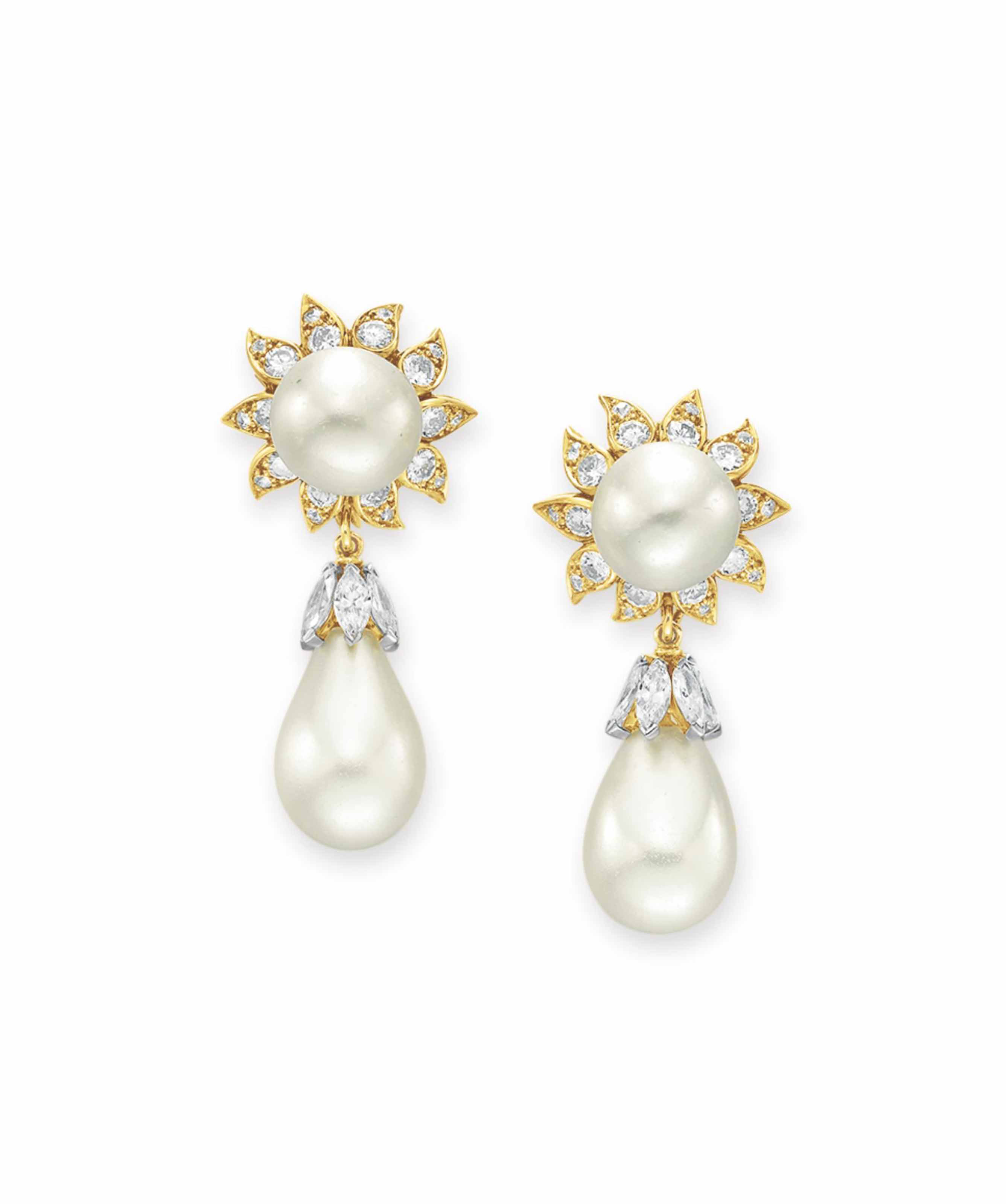 A PAIR OF NATURAL PEARL AND DIAMOND EAR PENDANTS, BY DAVID WEBB