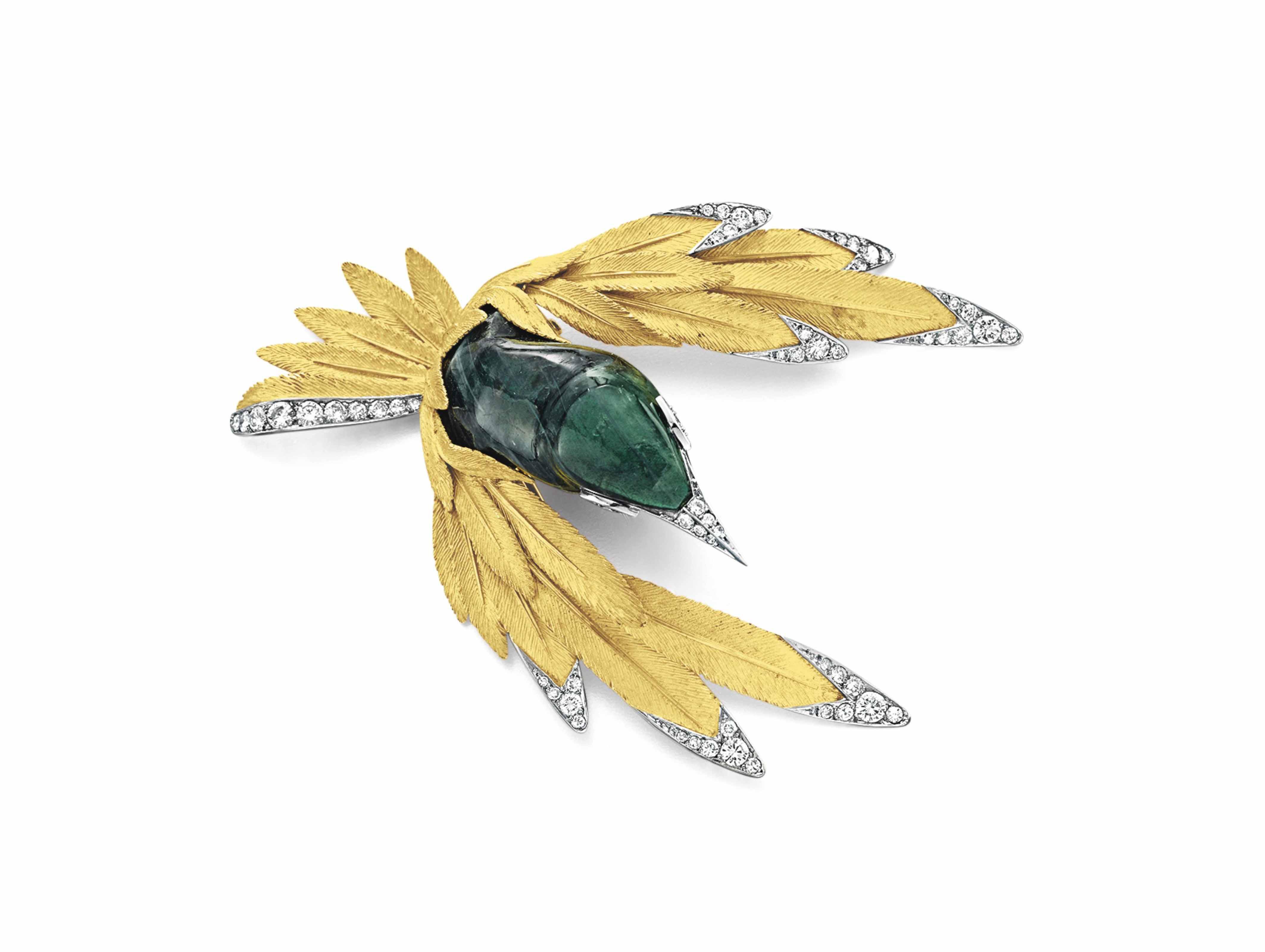A LABRADORITE, DIAMOND AND GOLD BIRD BROOCH, BY STERLÉ