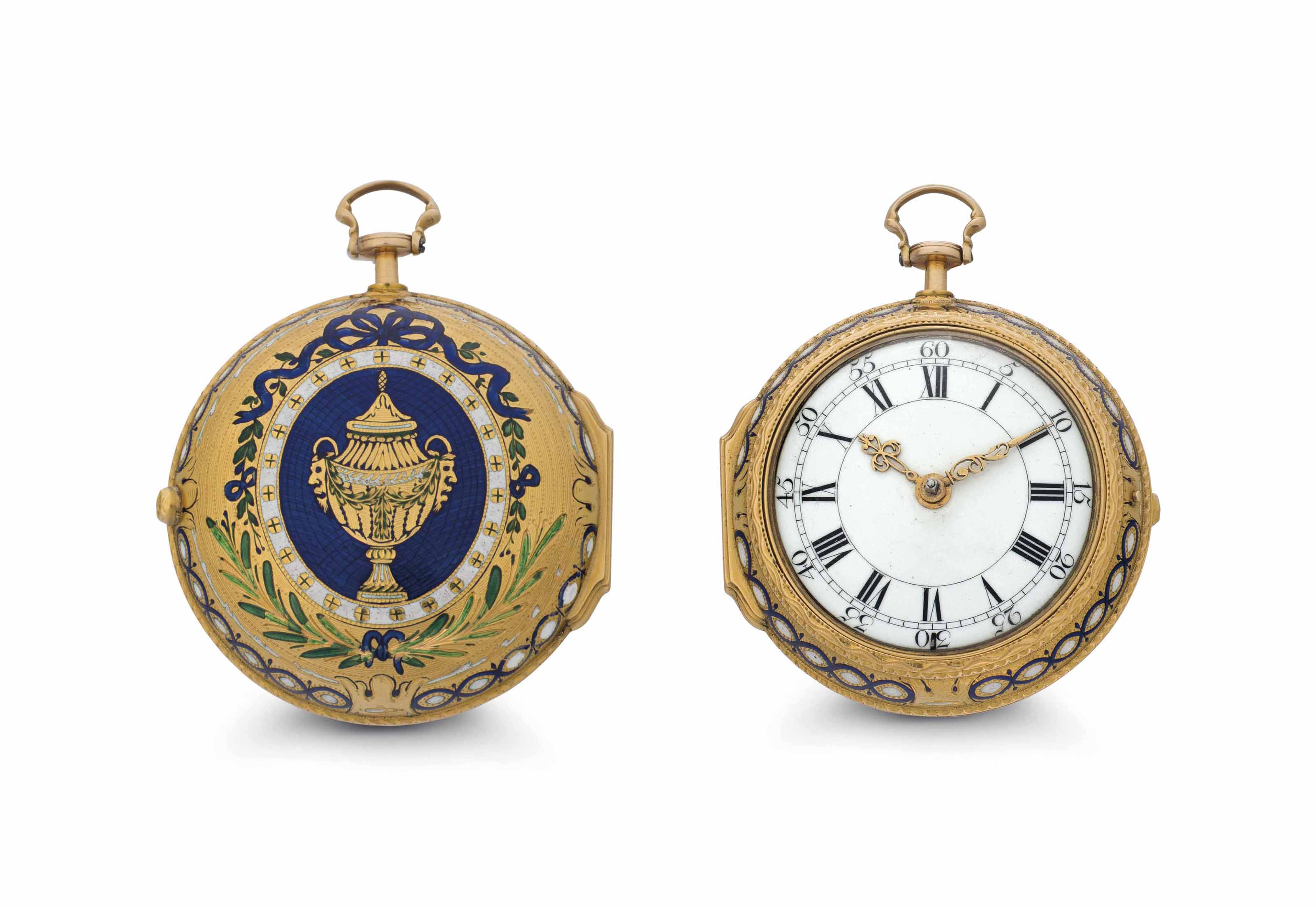 Graham. An Early 18k Gold and Enamel Key Wound Cylinder Pair Case Watch