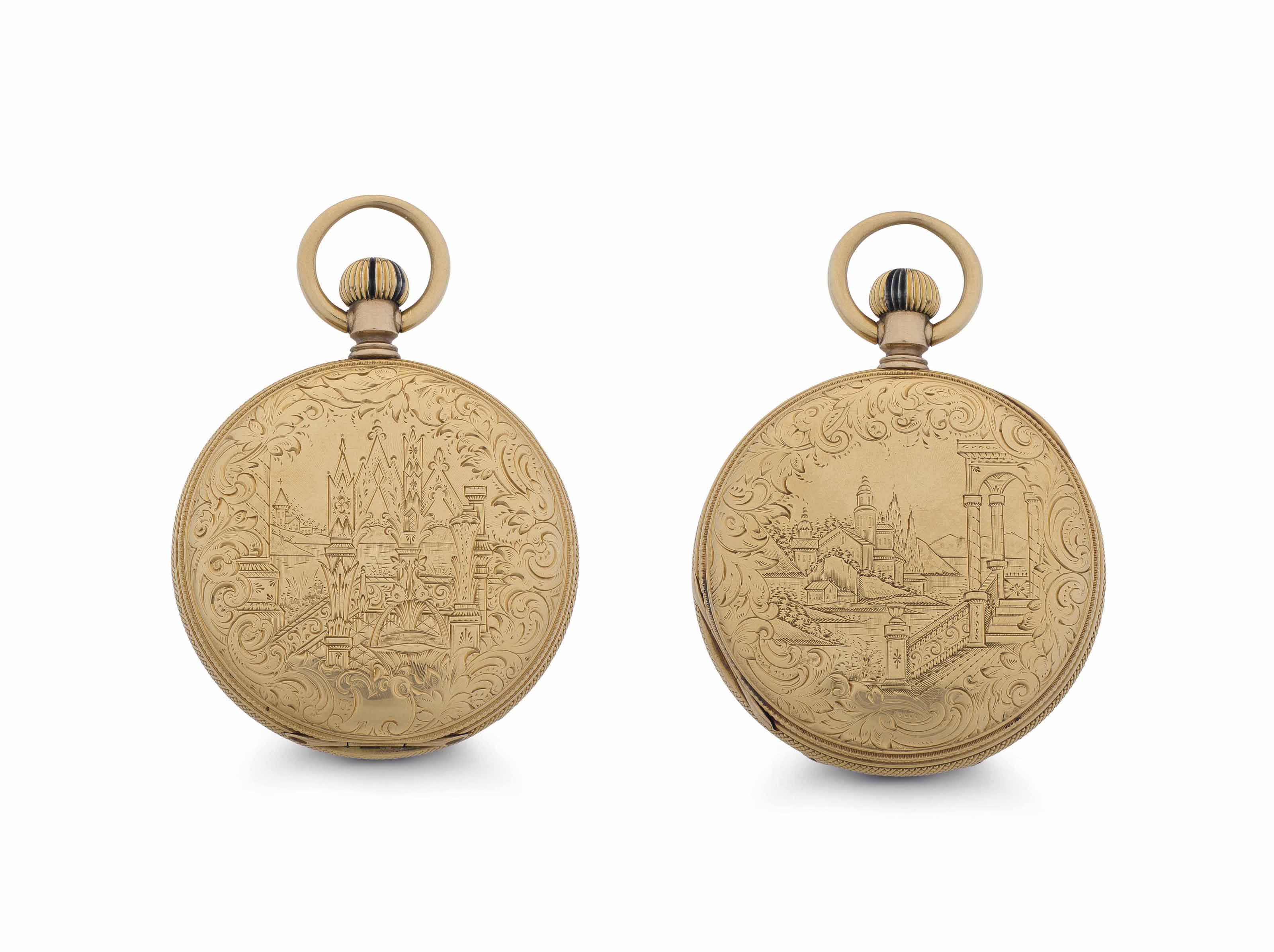 Matile. A Large 18k Gold Hunter Case Keyless Lever Pocket Watch