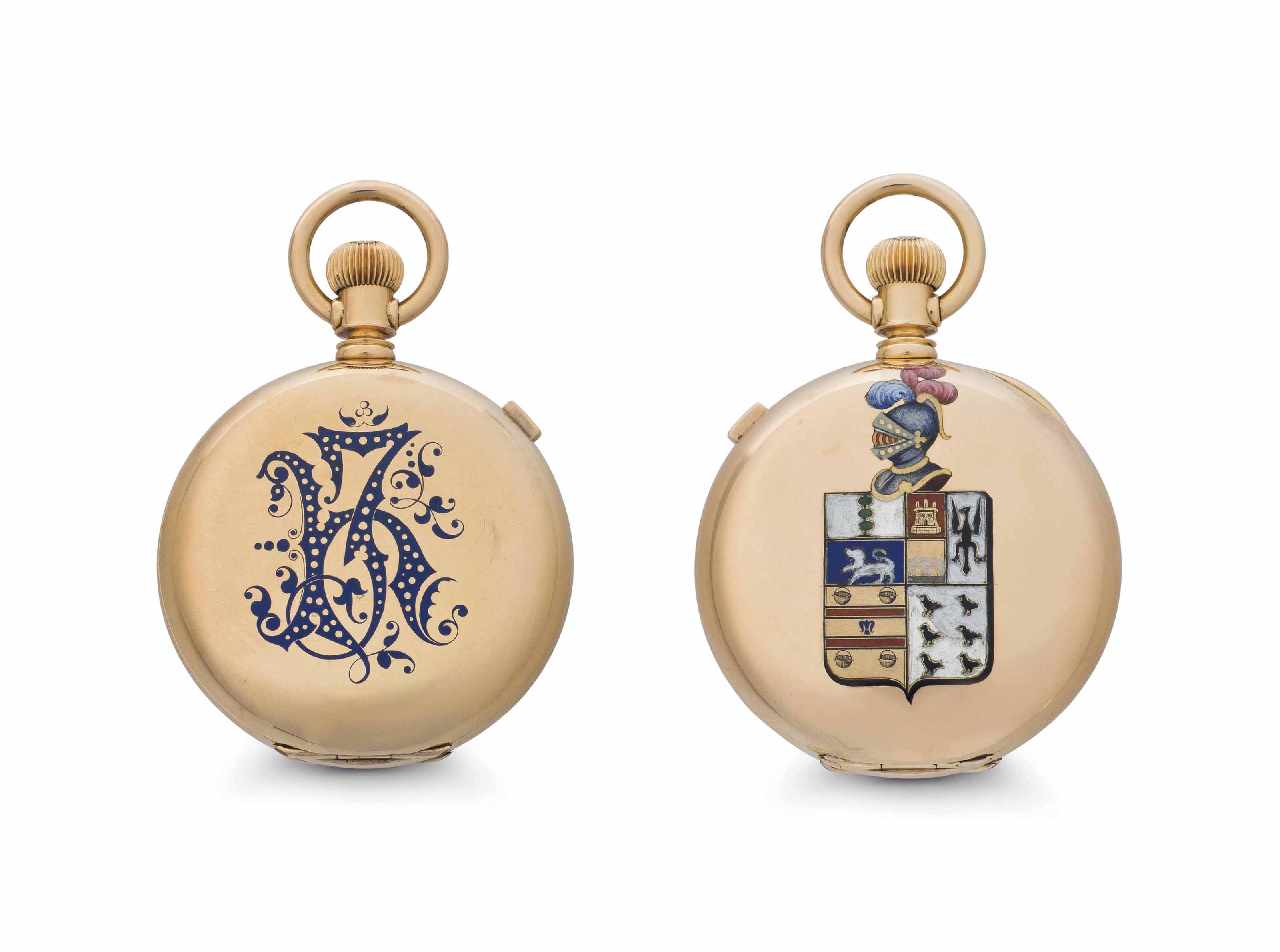 Waltham. A Rare 18k Gold and Enamel Hunter Case Keyless Lever Chronograph Pocket Watch with Personalized Dial
