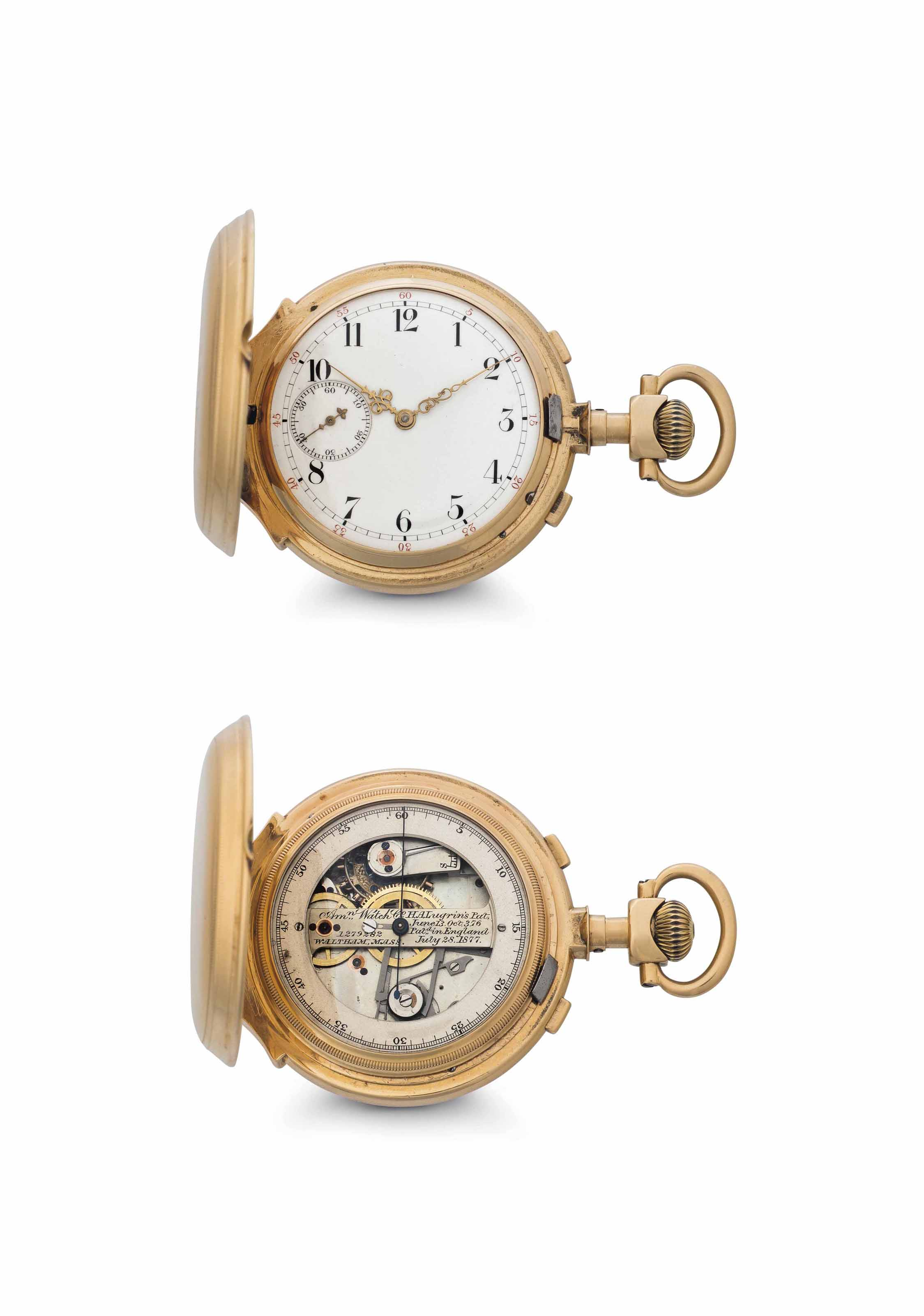 American Watch. A Rare 18k Gold Hunter Case Double Dial Keyless Lever Chronograph Watch
