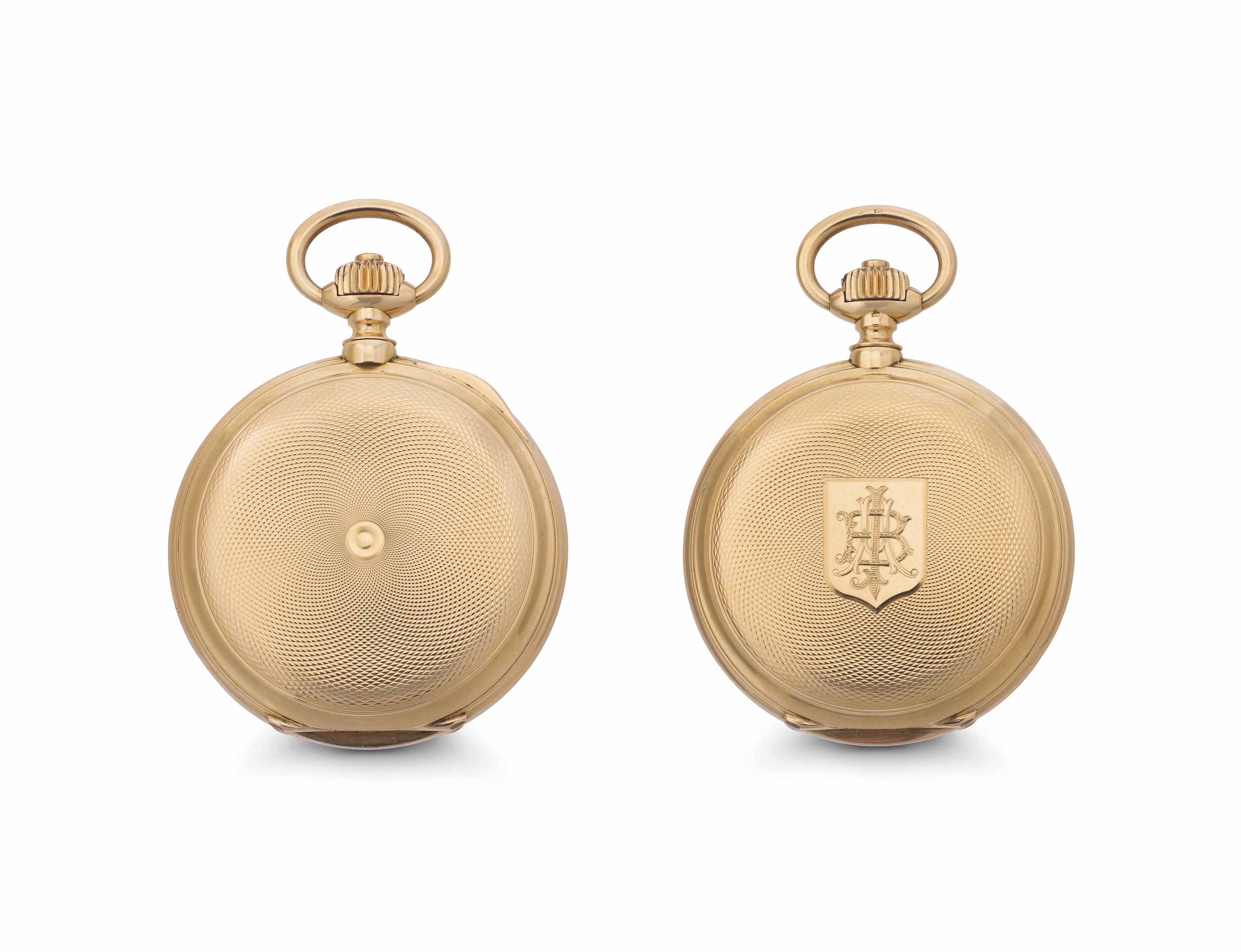 Jaccard.  A Fine and Rare 18k Pink Gold Hunter Case Detent Chronometer Pocket Watch with Helical Hairspring and Wooden Presentation Box