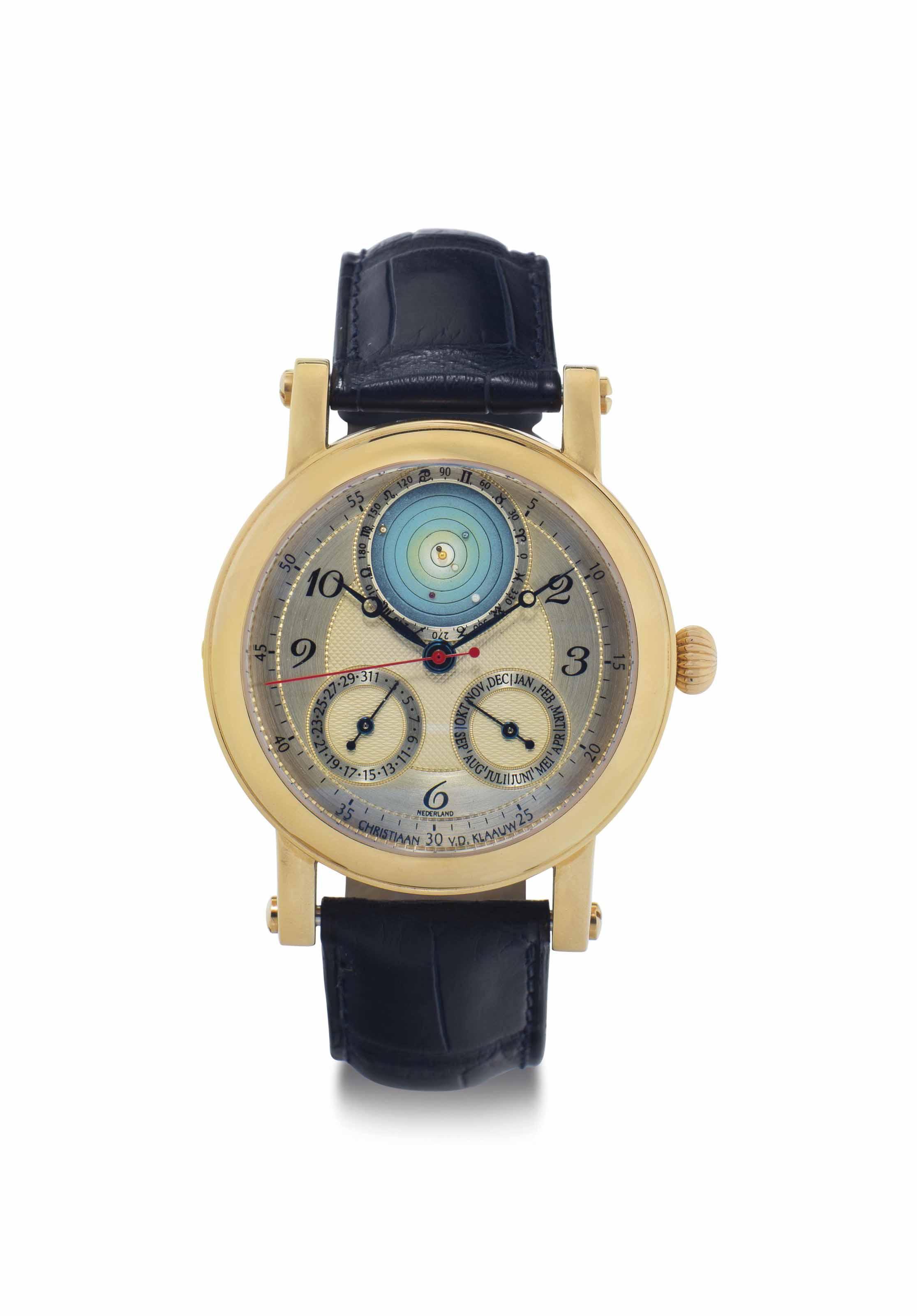 Christiaan Van Der Klaauw. A Fine 18k Pink Gold Automatic Planetarium Calendar Wristwatch
