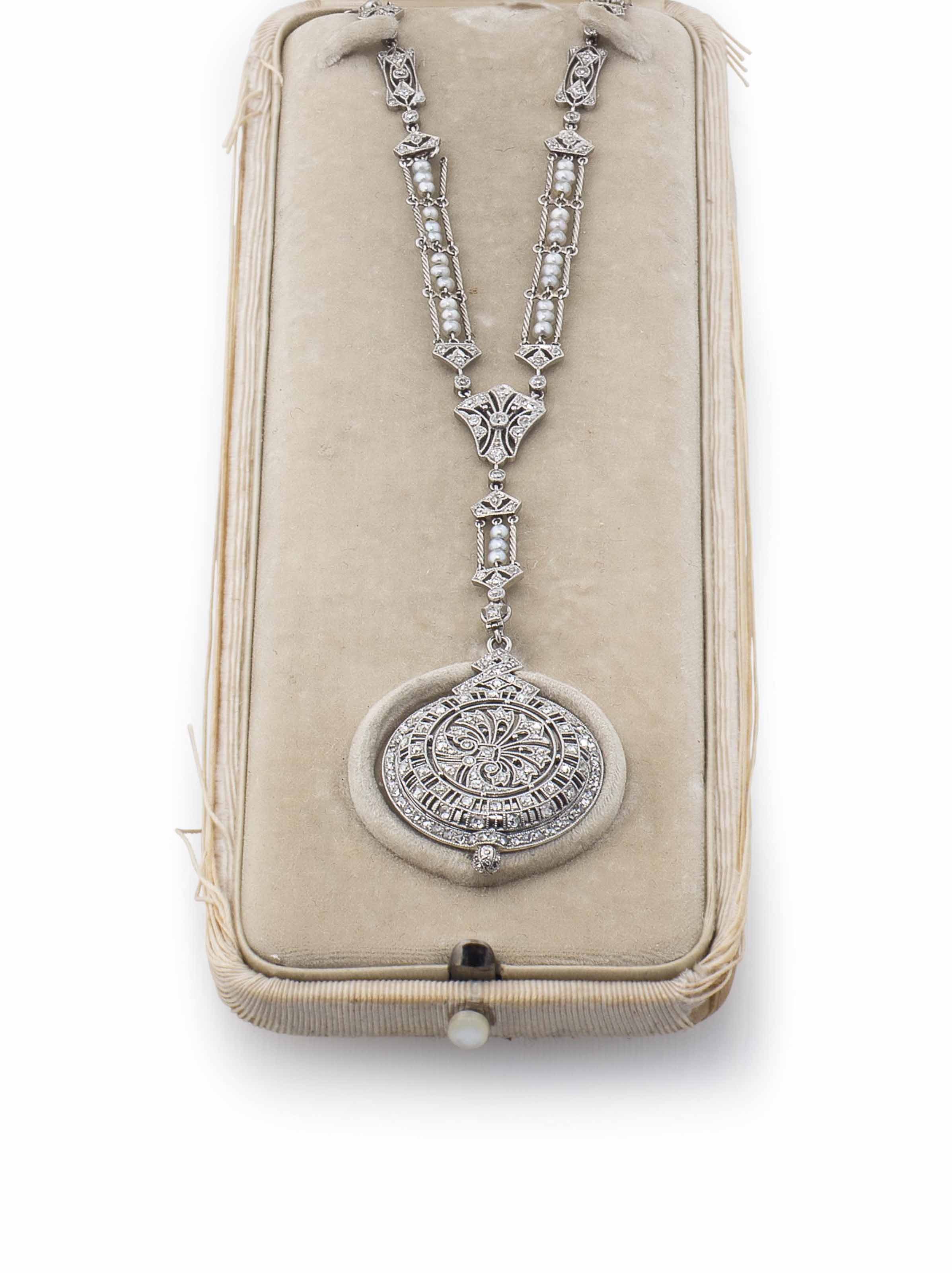 Meylan. A Fine Platinum, Diamond and Pearl-set Keyless Lever Pendant Watch with Chain
