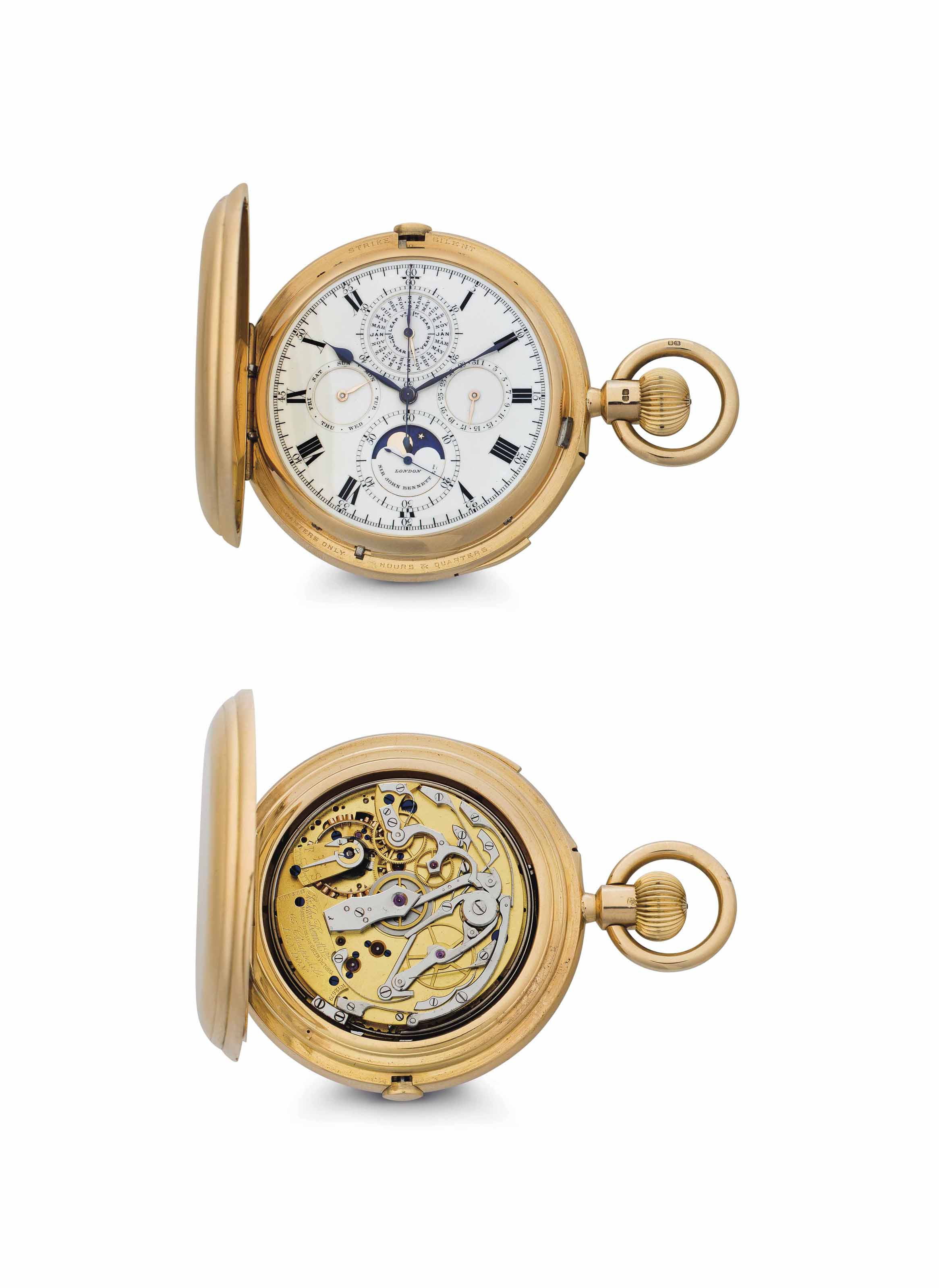 John Bennett.  A Very Rare and Exceptional 18k Gold Hunter Case Minute Repeating Perpetual Calendar Chronograph Clock Watch with Grande and Petite Sonnerie and Moon Phases