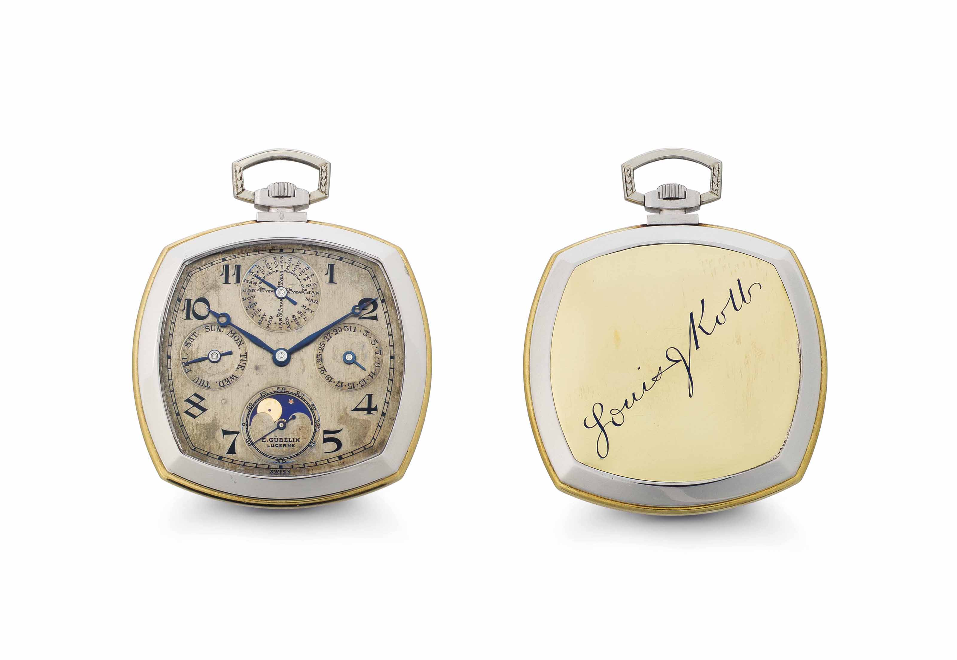 Gübelin.  A Rare 18k Gold and Platinum Perpetual Calendar Openface Keyless Lever Dress Watch with Moon Phase